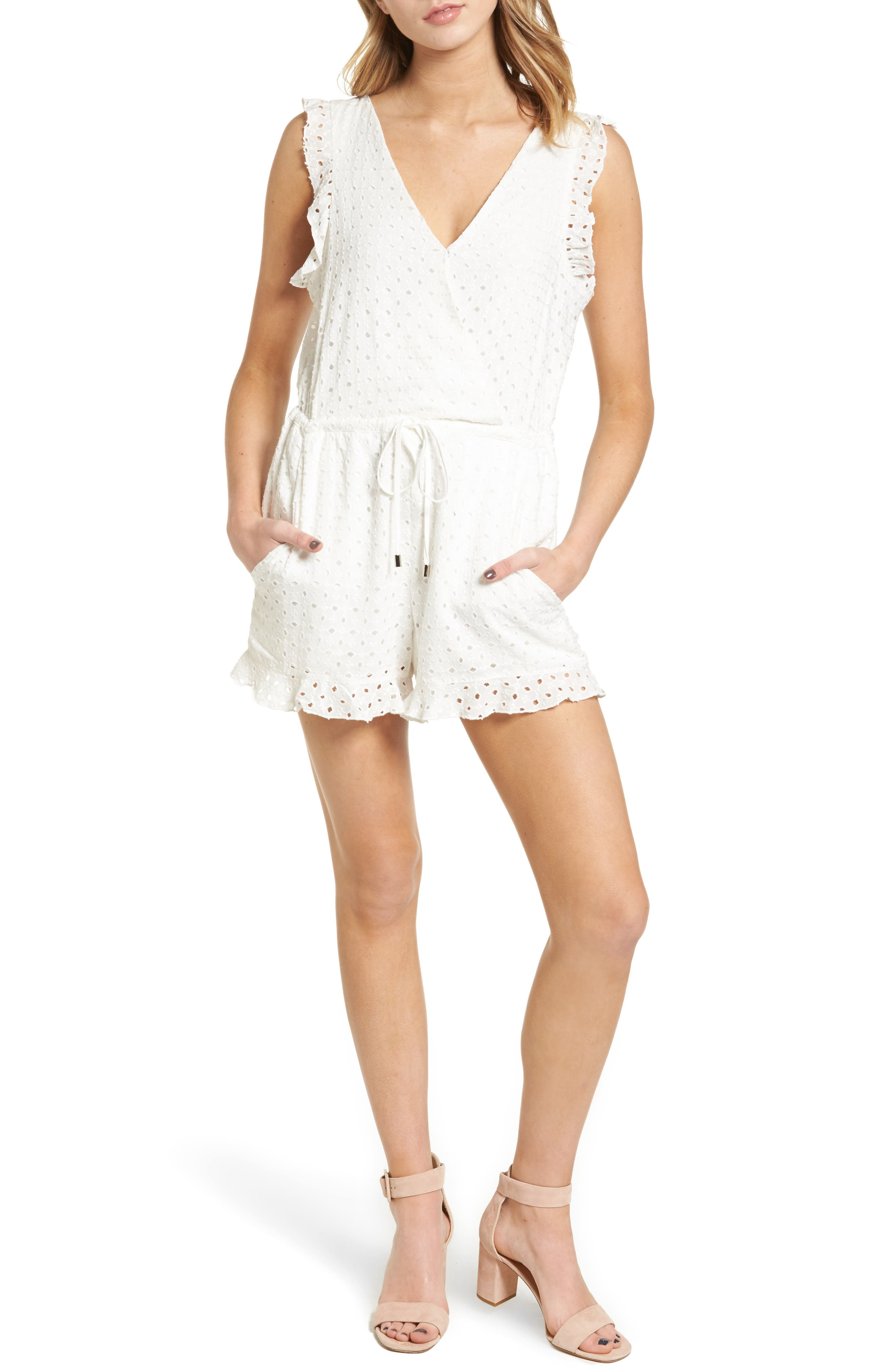 Main Image - Willow & Clay Eyelet Surplice Romper