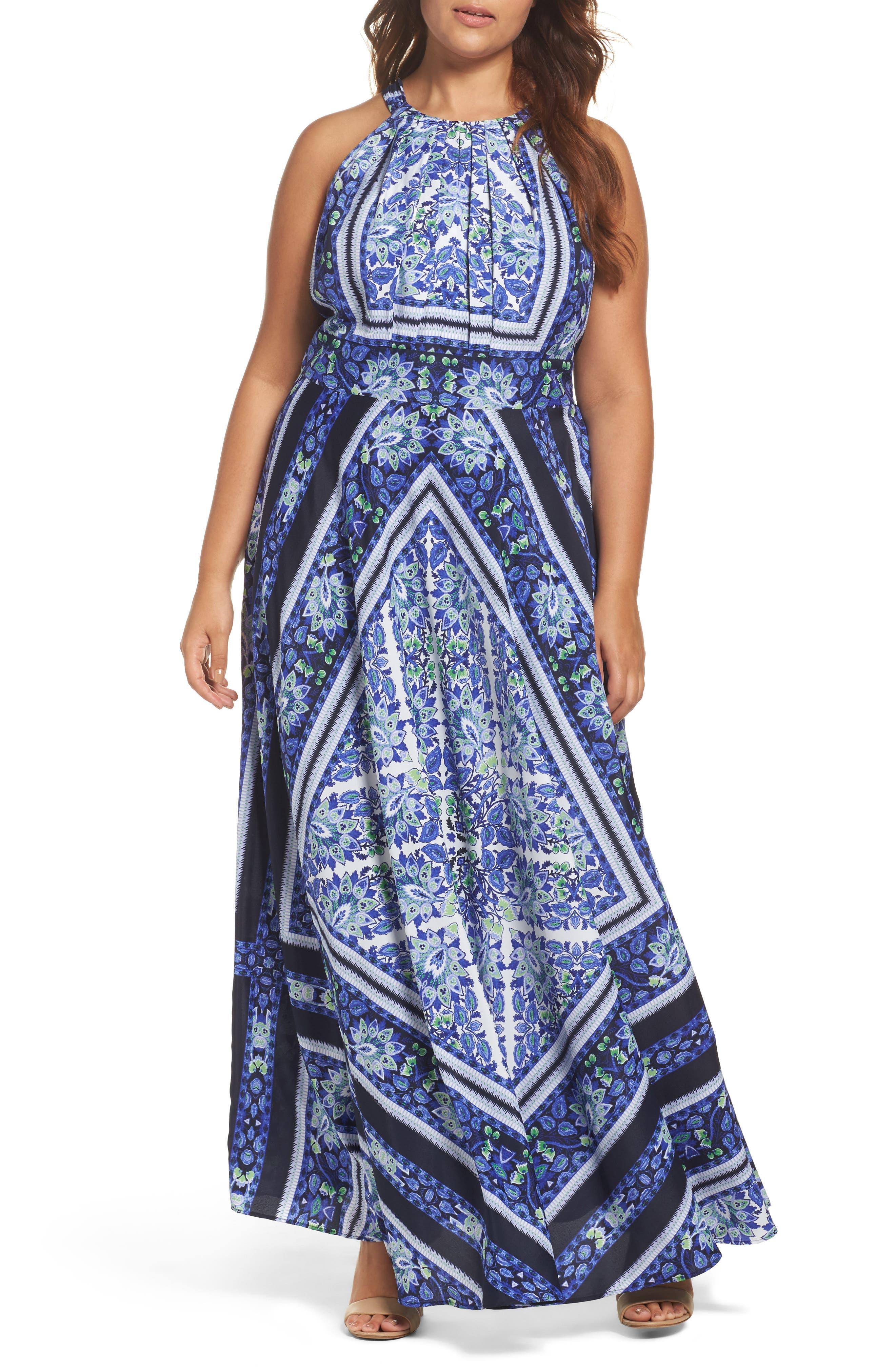 Eliza J Scarf Print Maxi Dress (Plus Size)