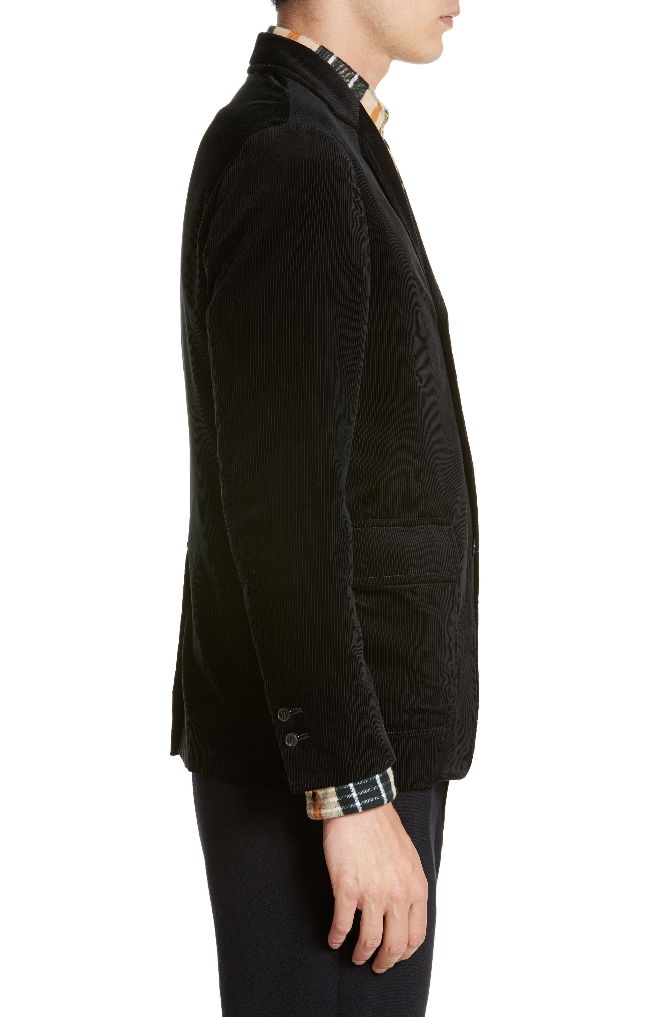 Sea Island Corduroy Jacket,                             Alternate thumbnail 3, color,                             Black