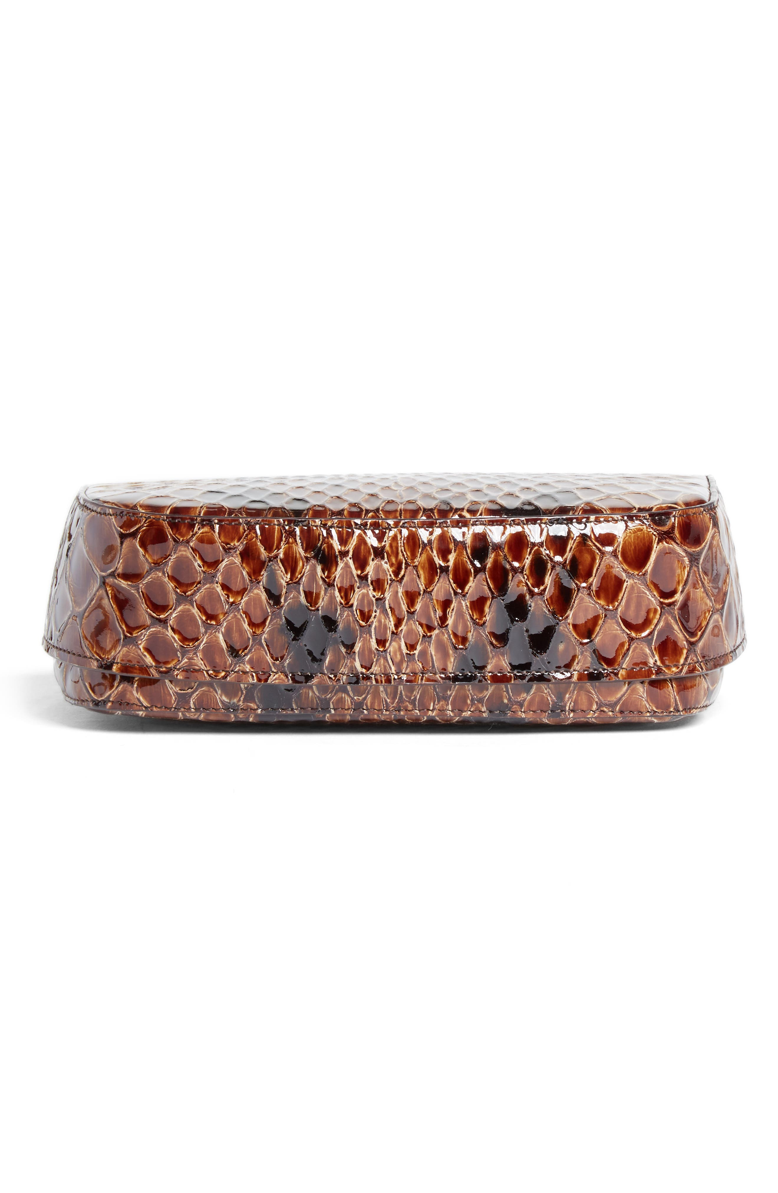 Small Snake Embossed Leather Box Bag,                             Alternate thumbnail 6, color,                             Brown