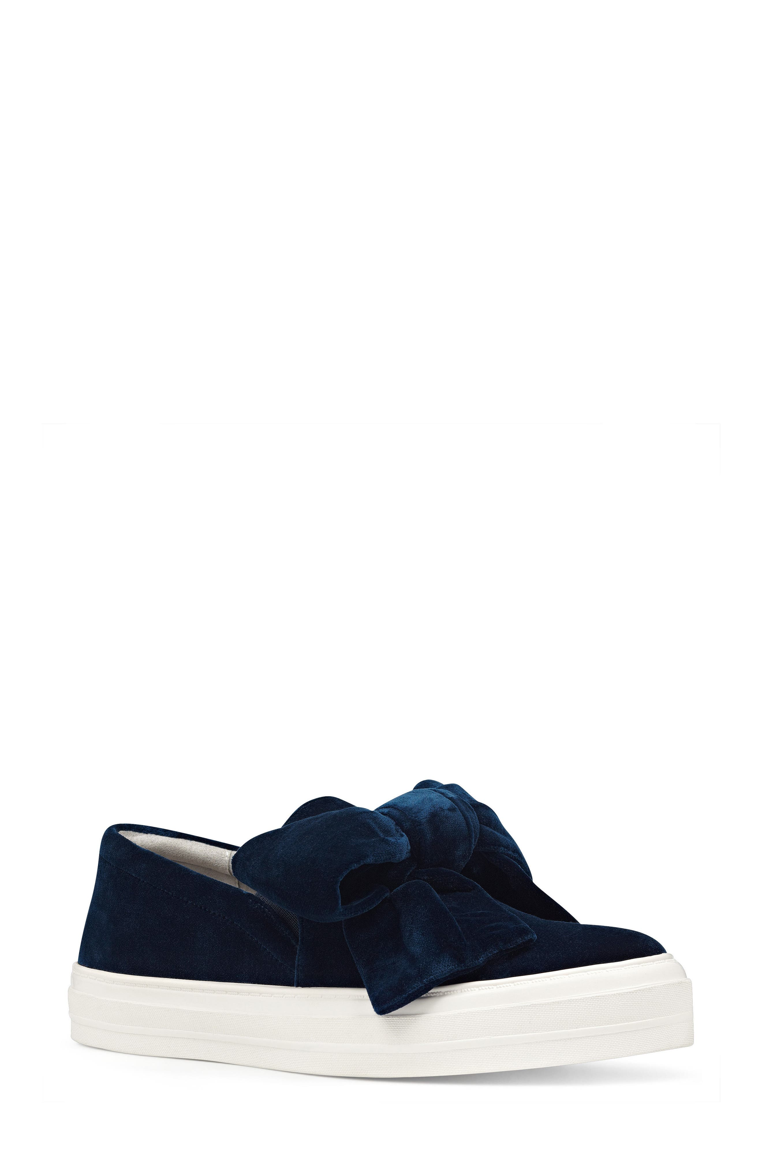Onosha Bow Slip-On Sneaker,                             Main thumbnail 1, color,                             Navy Fabric