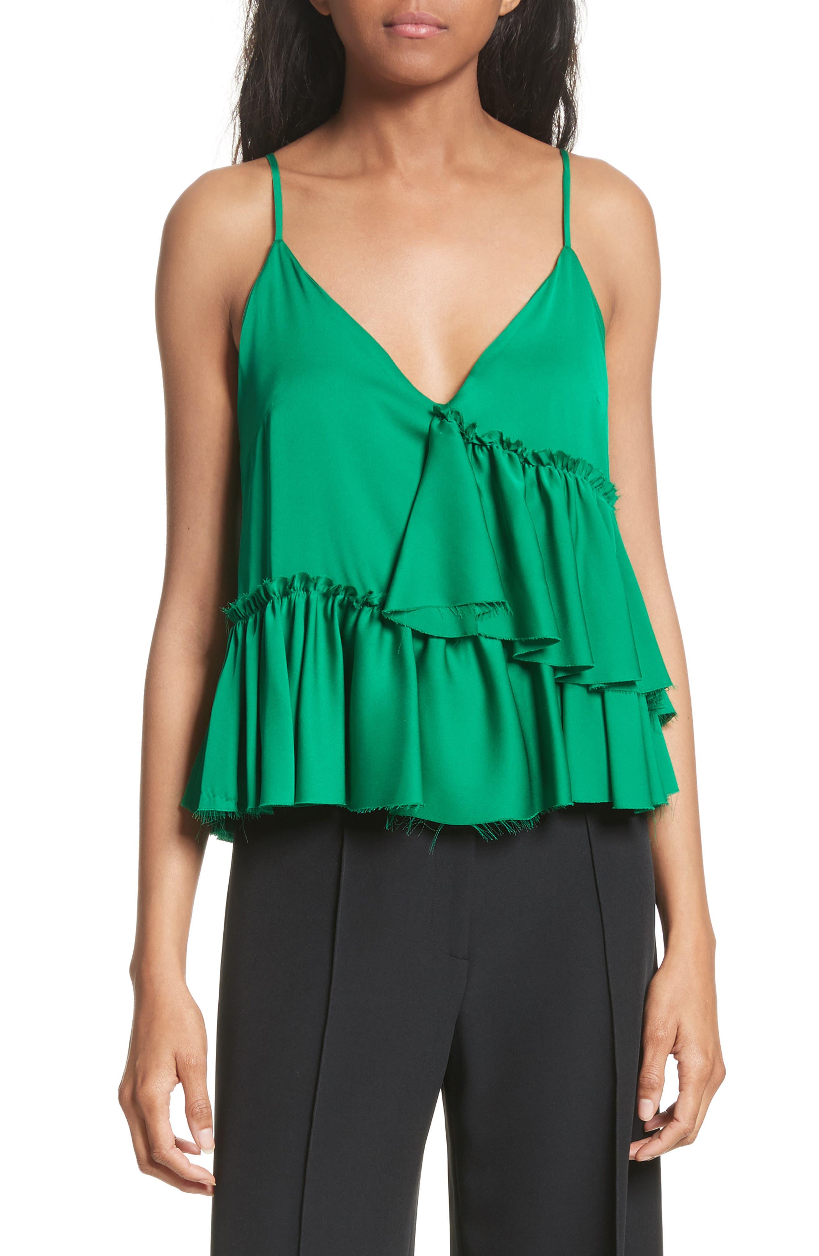 Tiered Stretch Silk Camisole,                         Main,                         color, Emerald