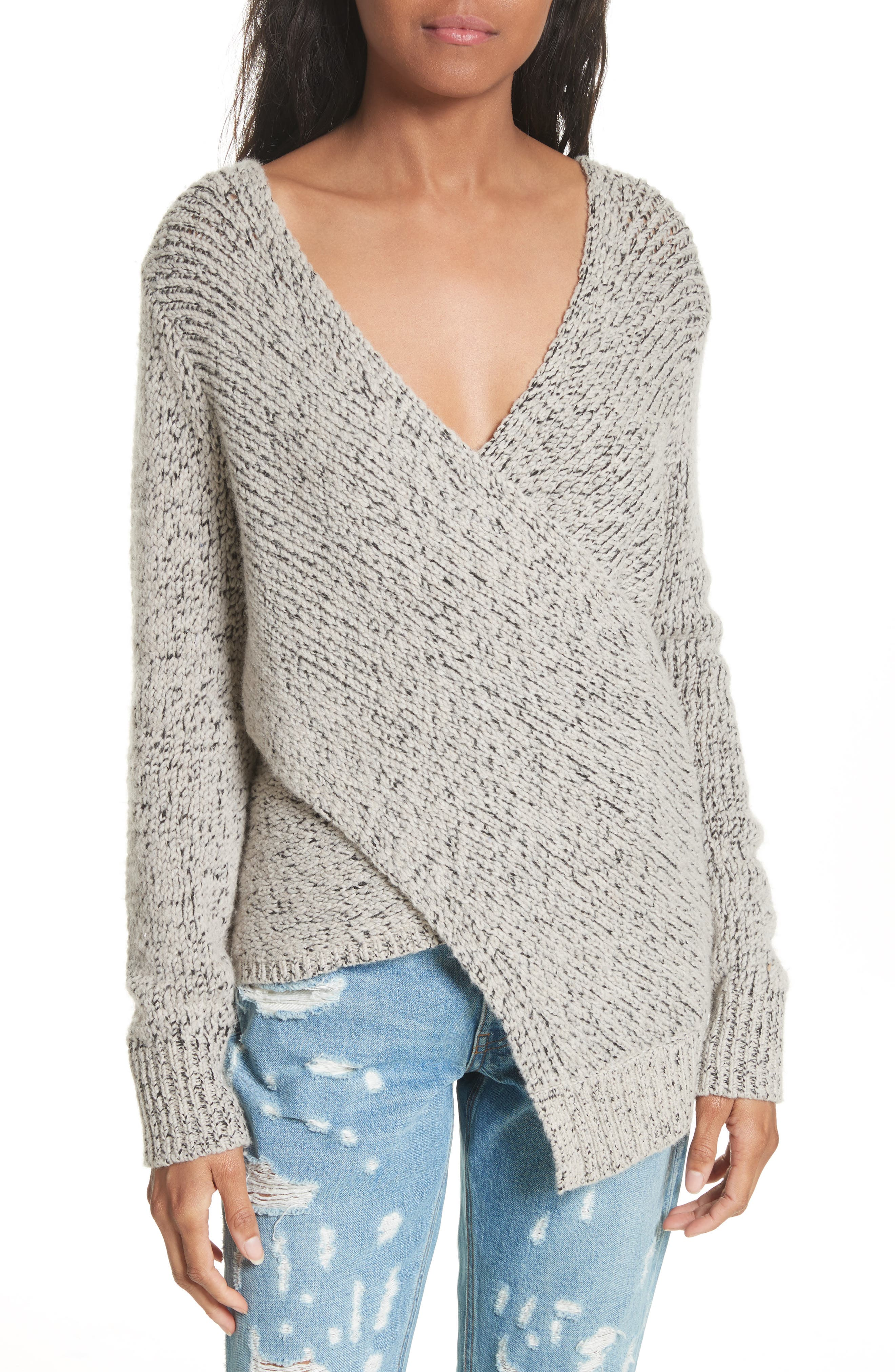 Asymmetrical Cross Front Sweater,                             Main thumbnail 1, color,                             Natural