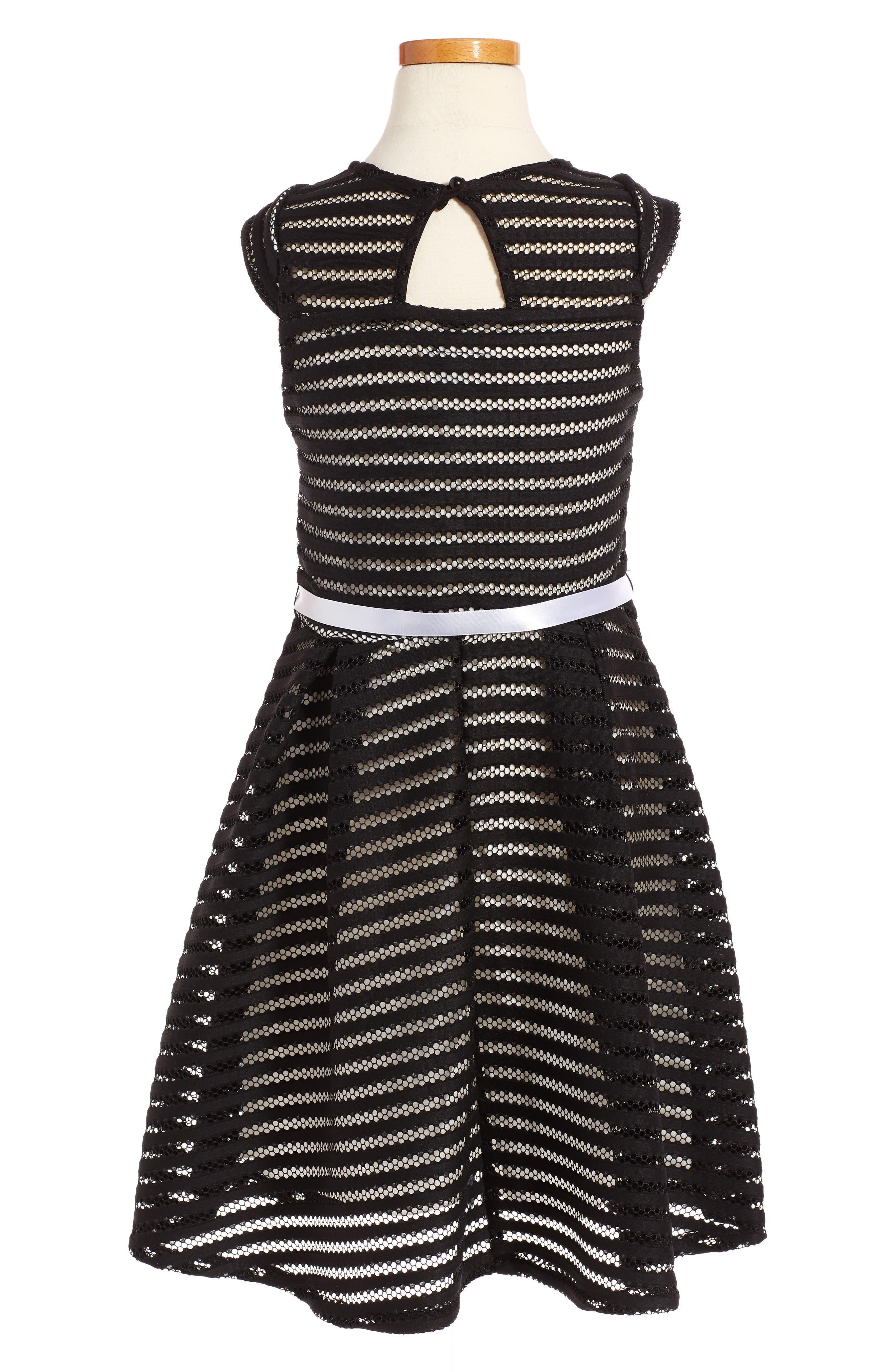 Alternate Image 2  - Ava & Yelly Stripe Skater Dress (Big Girls)