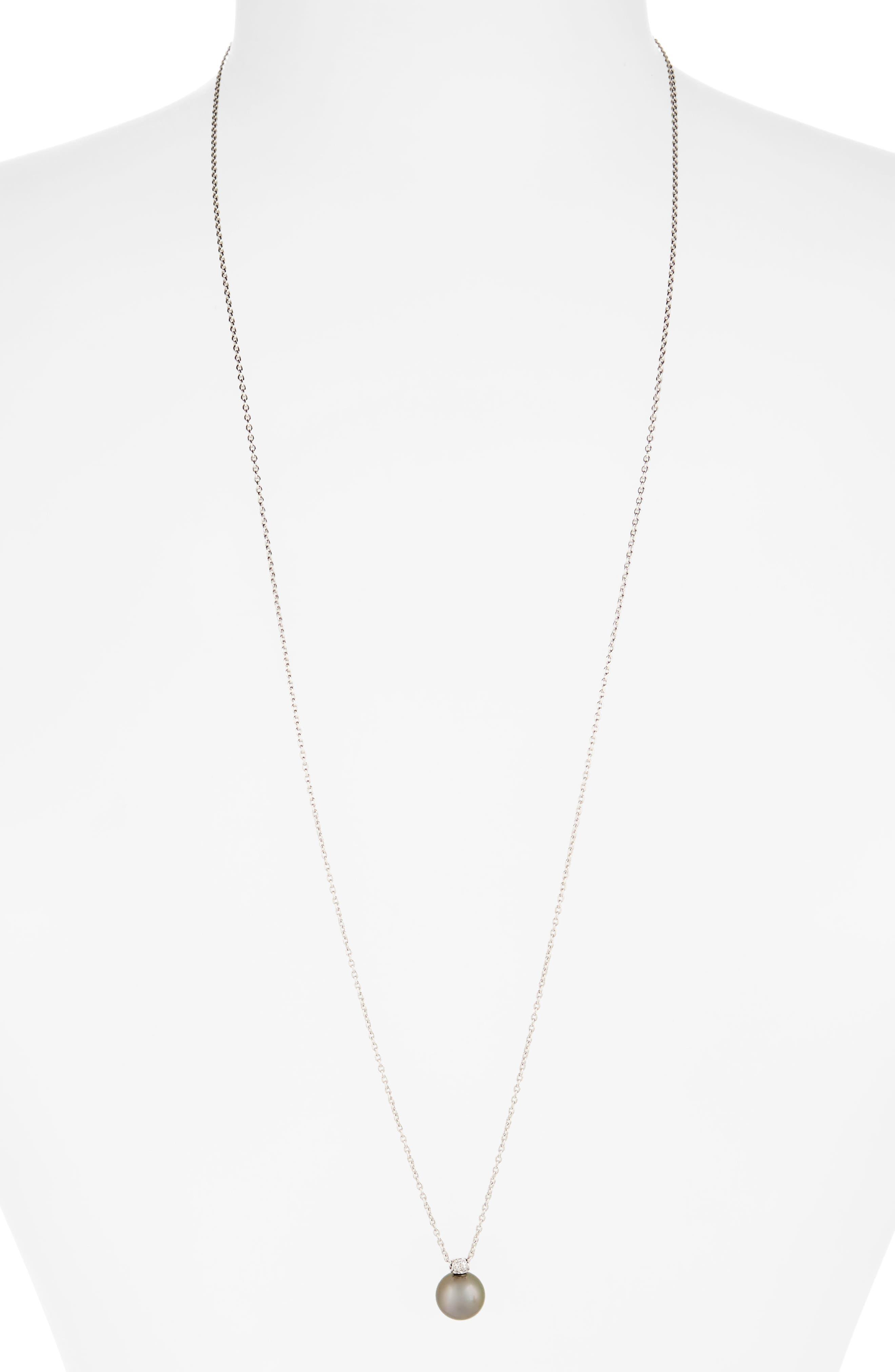MIKIMOTO Tahitian Pearl & Diamond Pendant Necklace