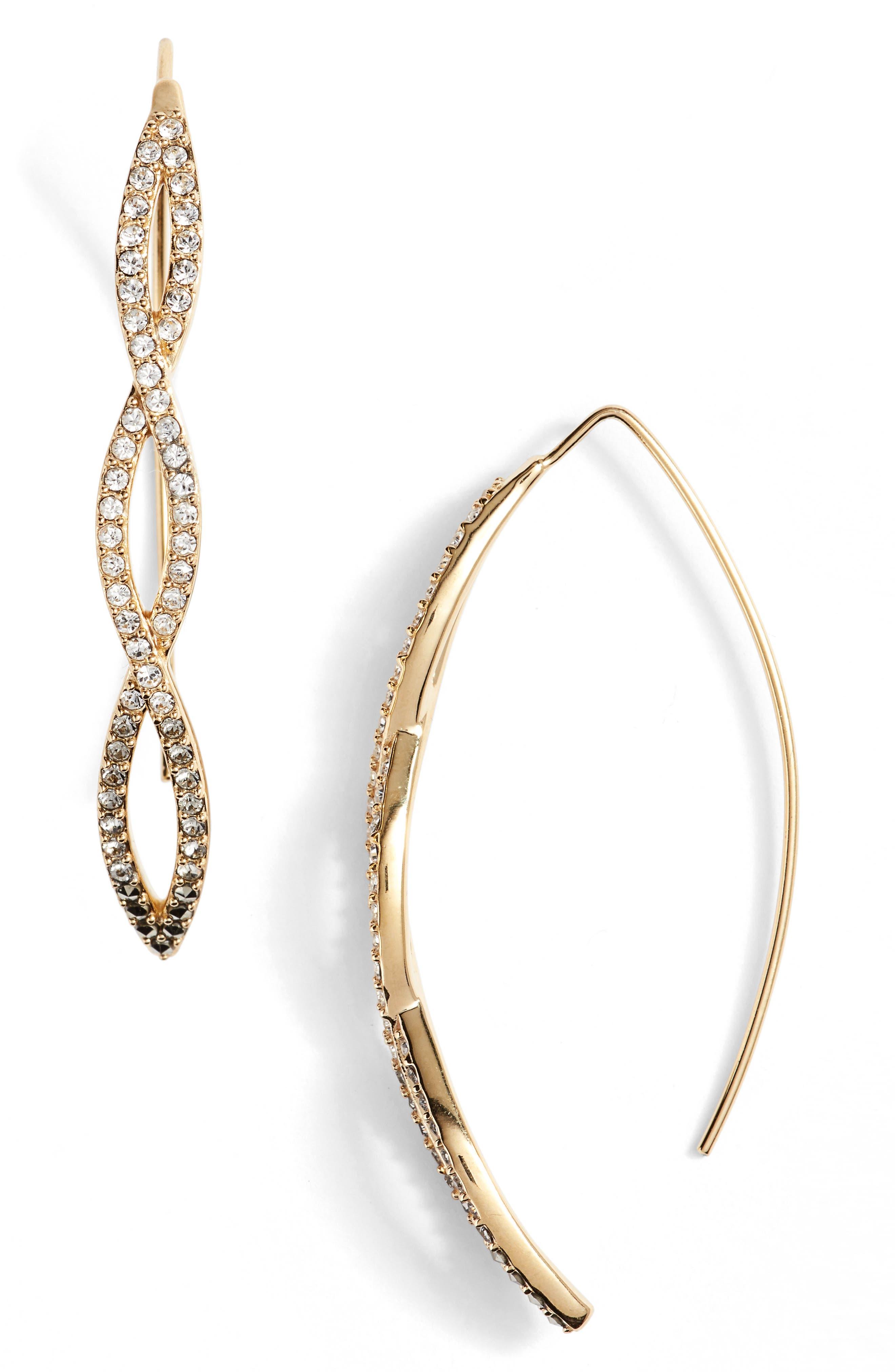 JUDITH JACK Crsytal Threader Earrings