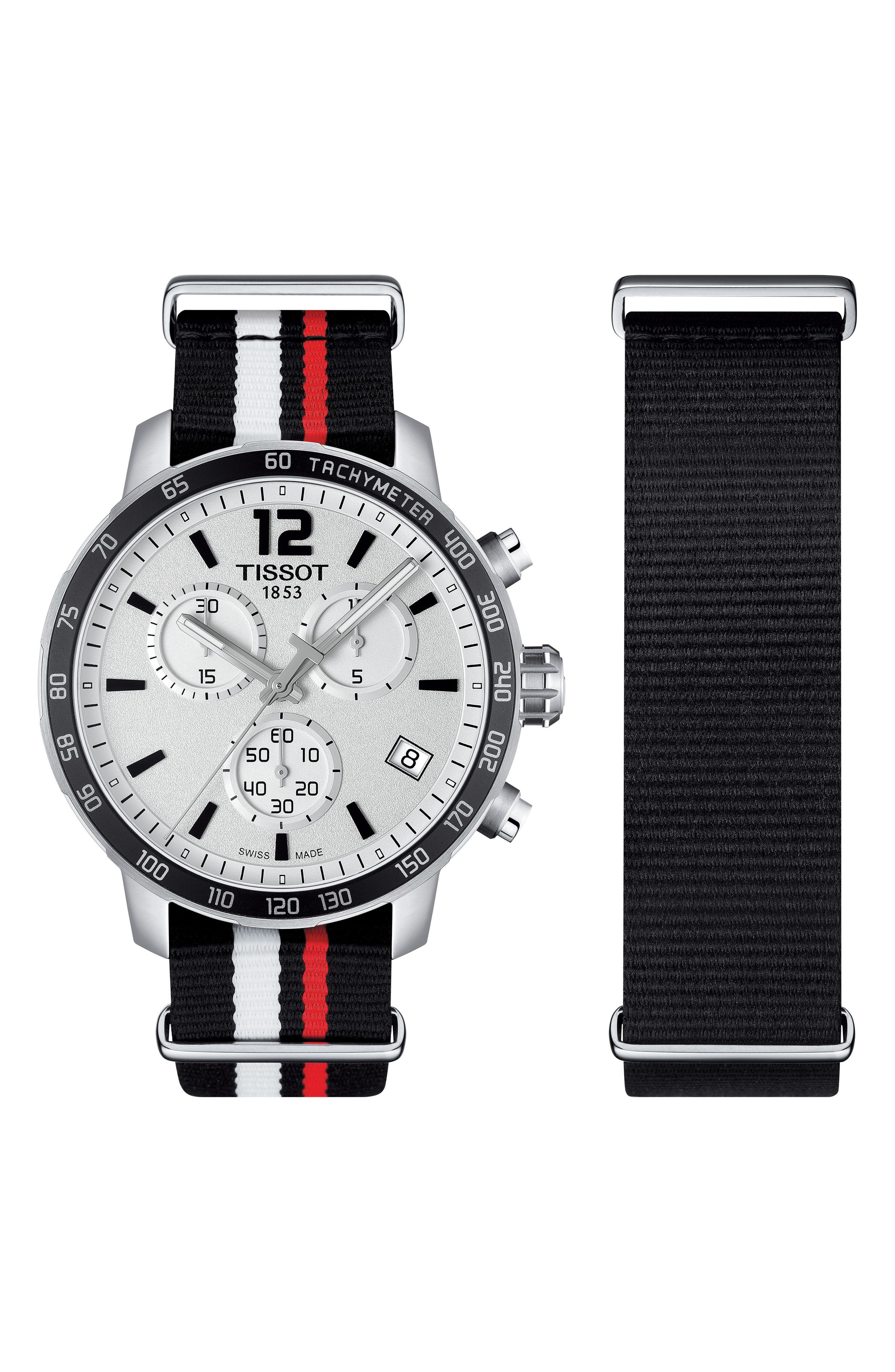 Quikster NBA Chronograph NATO Strap Watch, 42mm,                             Alternate thumbnail 2, color,                             Black/ White/ Silver