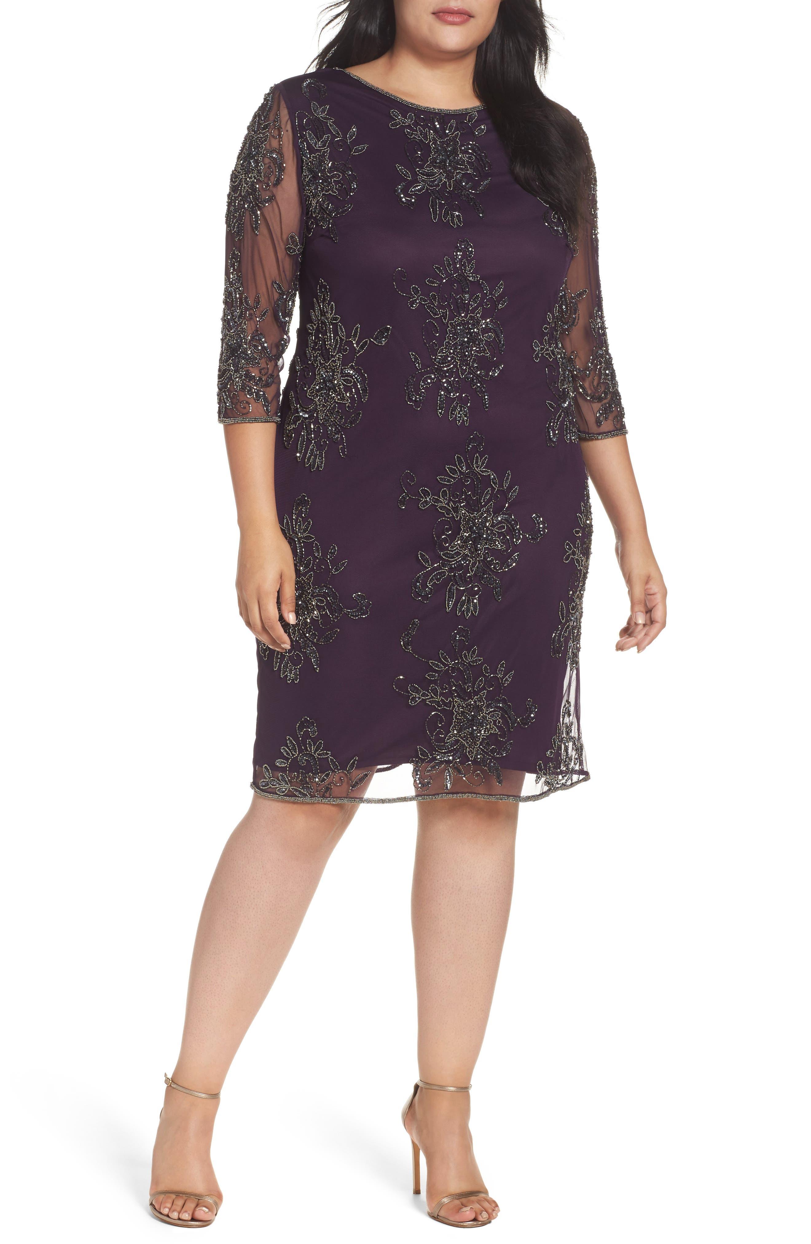 Main Image - Pisarro Nights Embellished Tulle Dress (Plus)