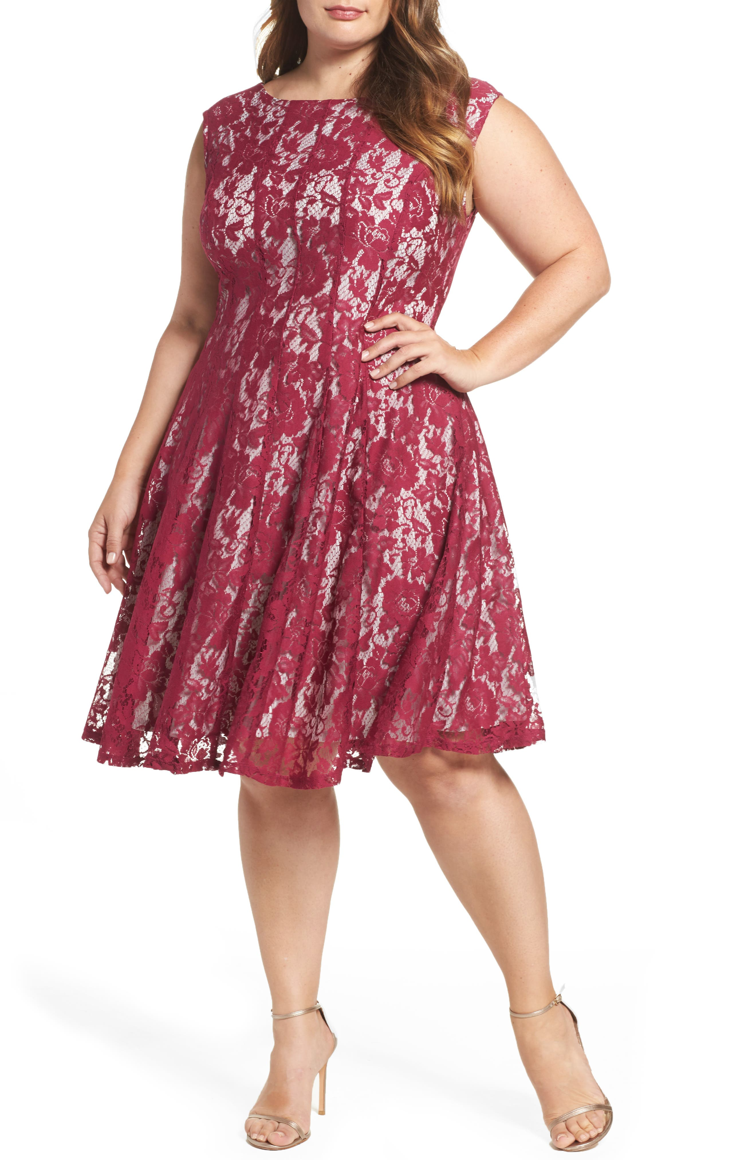 Lace Fit & Flare Dress,                             Main thumbnail 1, color,                             Orchid/ Pearl