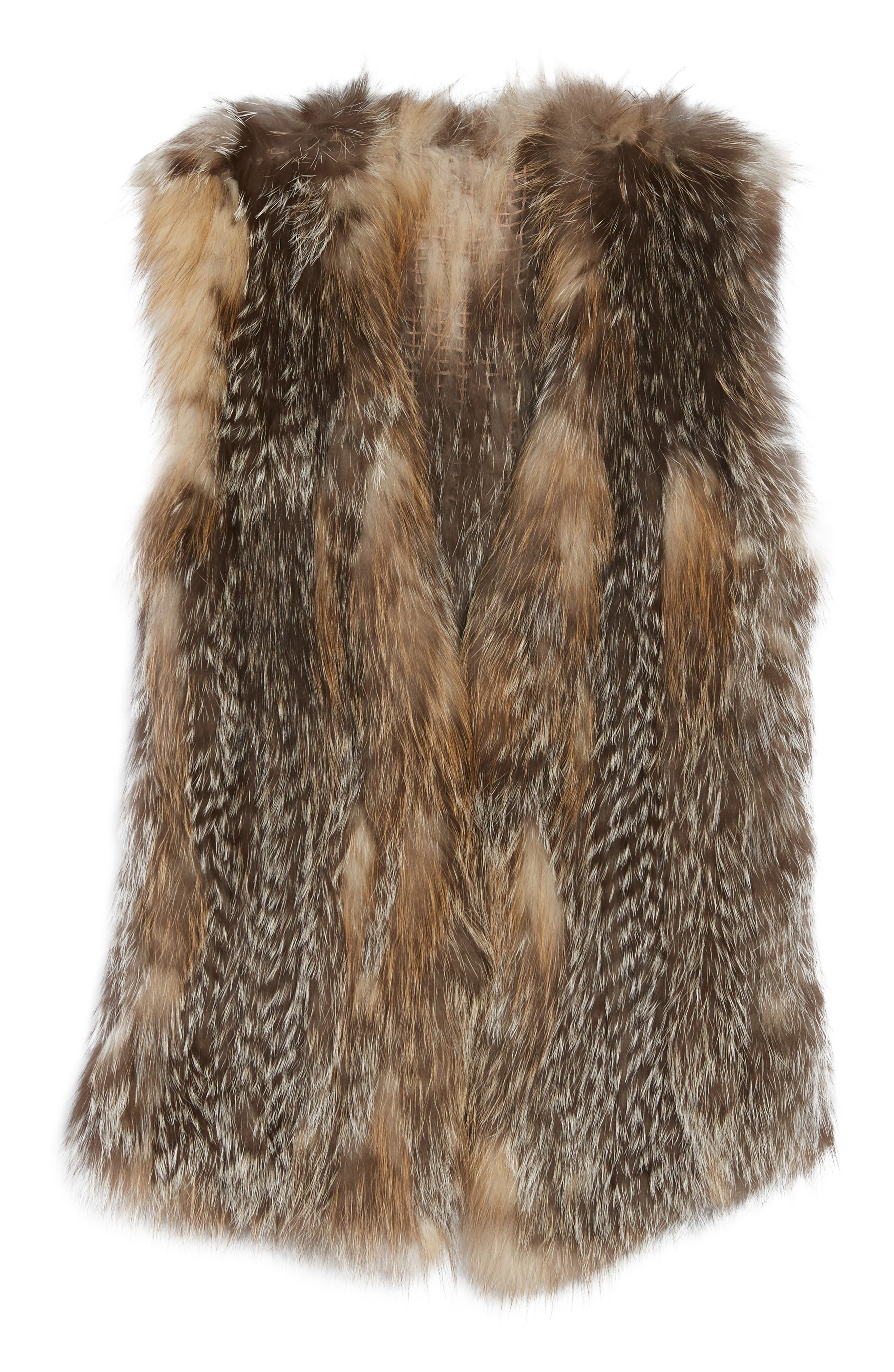 Genuine Fox Fur Vest,                             Alternate thumbnail 5, color,                             Natural Gold