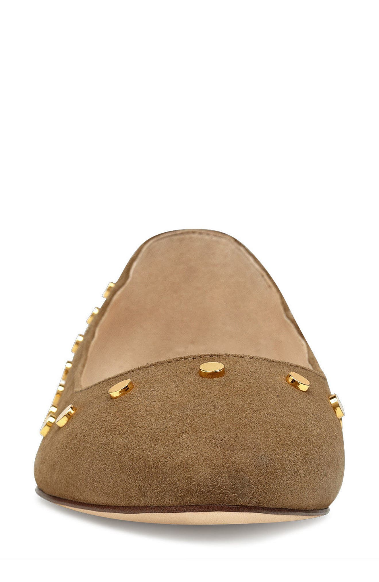 Sigismonda Studded Flat,                             Alternate thumbnail 4, color,                             Green Suede