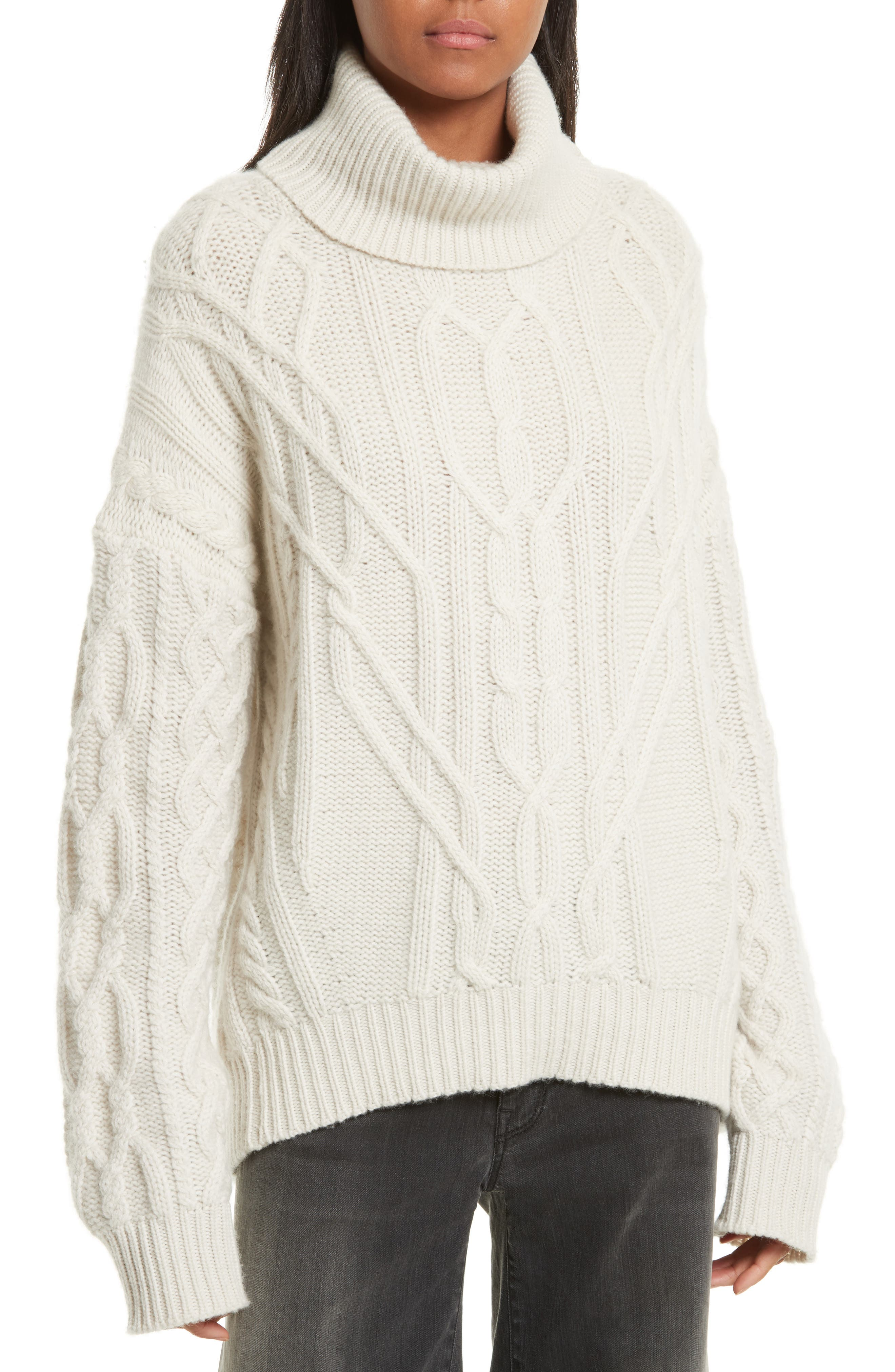 Cecil Cable Knit Cashmere Turtleneck Sweater,                             Main thumbnail 1, color,                             Ivory