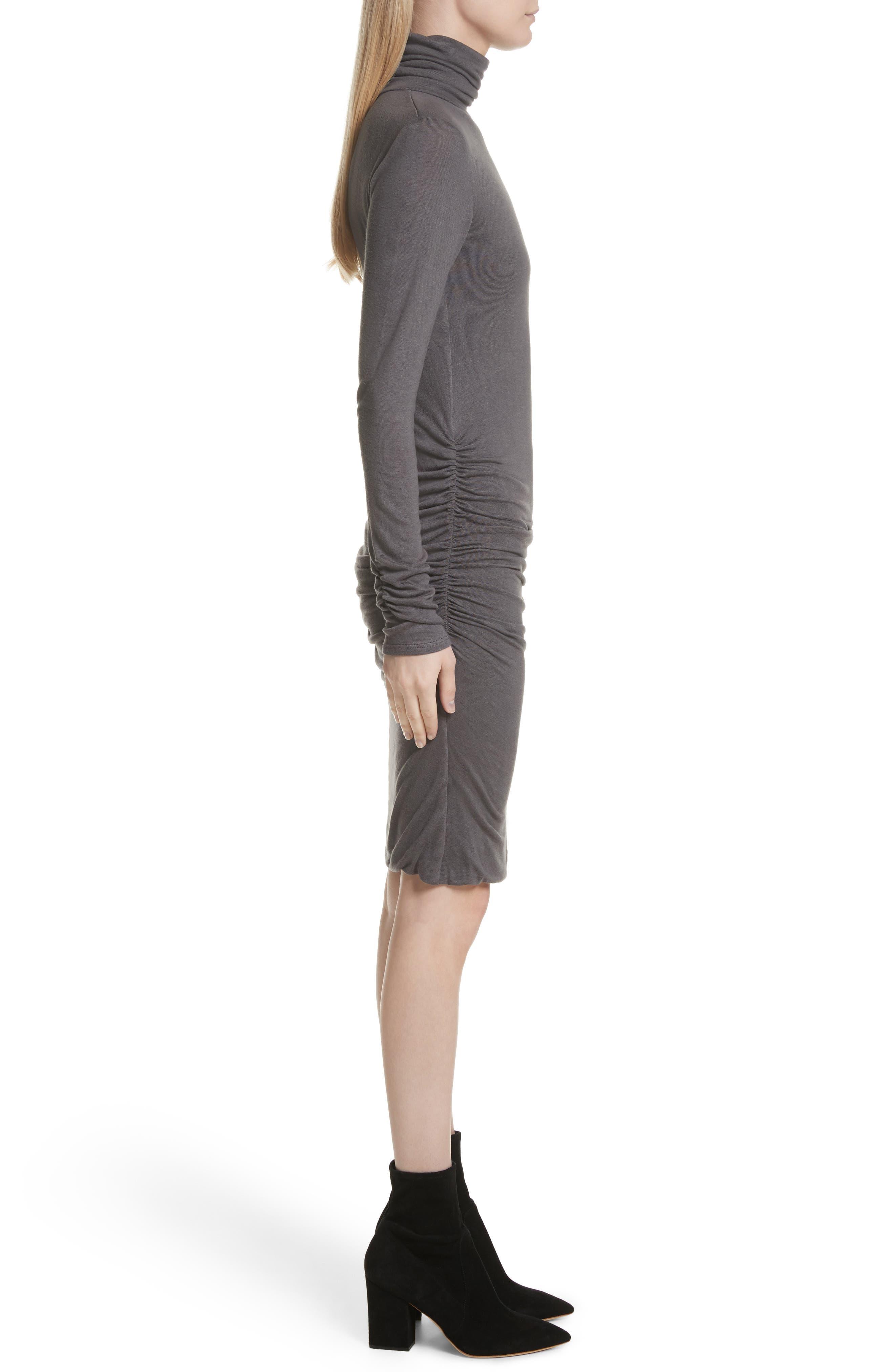 Body-Con Turtleneck Dress,                             Alternate thumbnail 3, color,                             Gunmetal