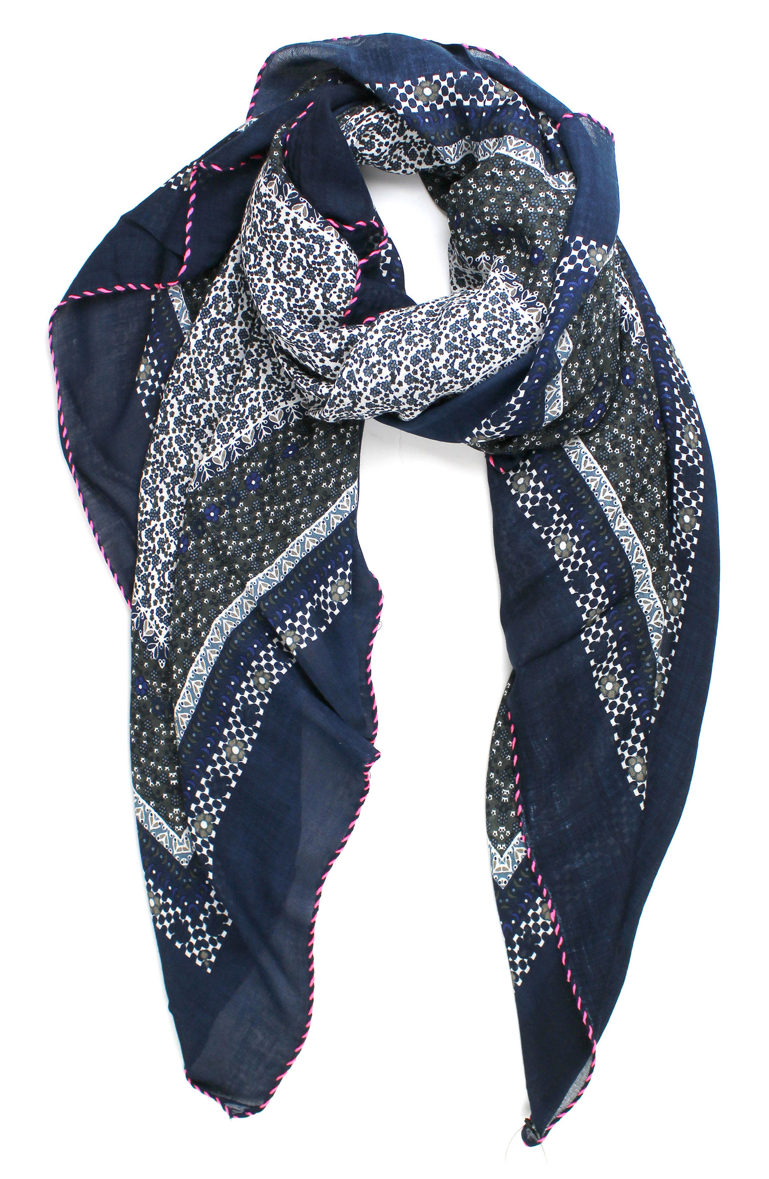 Little Ditsy Square Scarf,                             Main thumbnail 1, color,                             Blue/ White