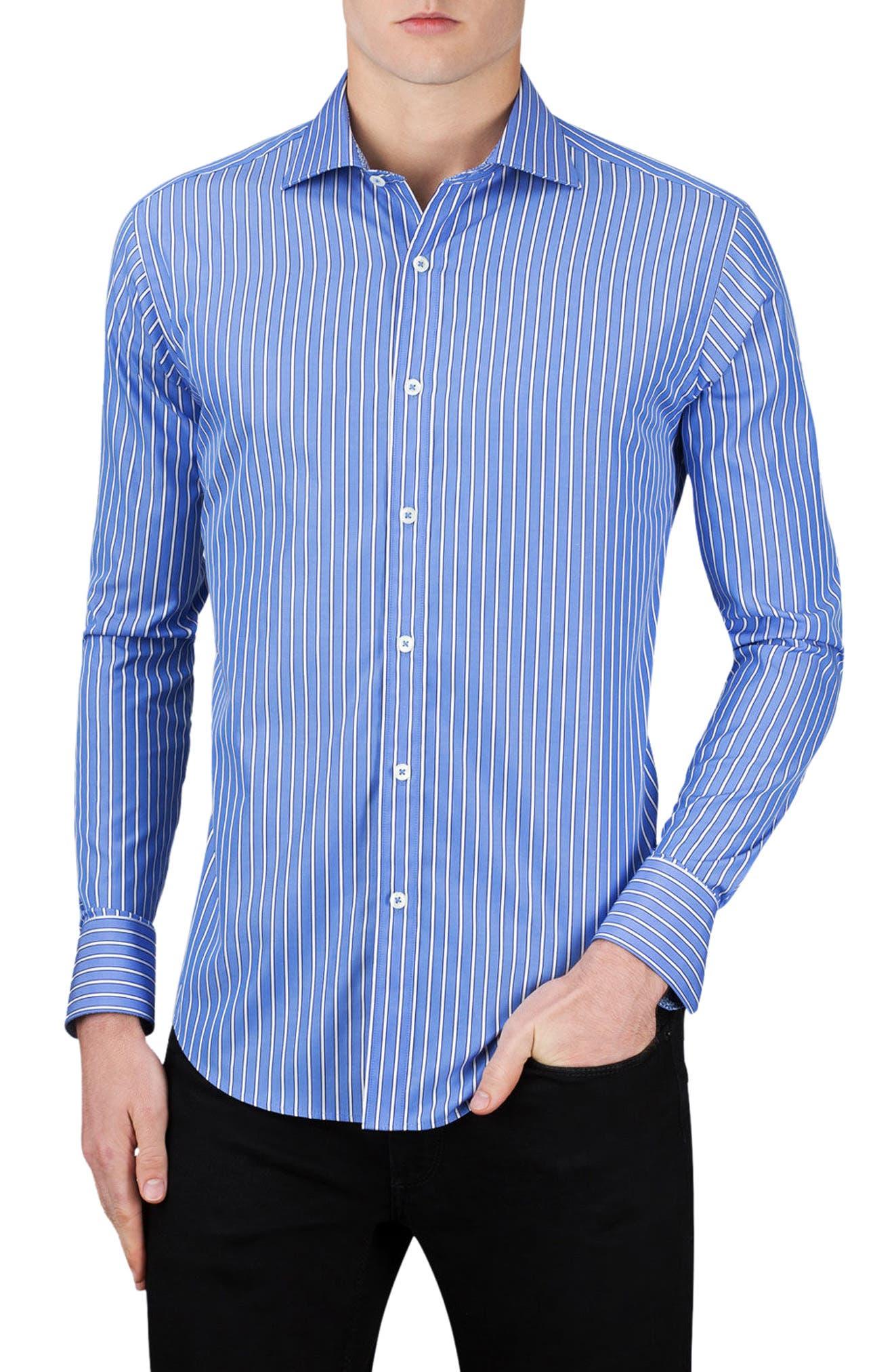 Classic Fit Stripe Sport Shirt,                         Main,                         color, Classic Blue