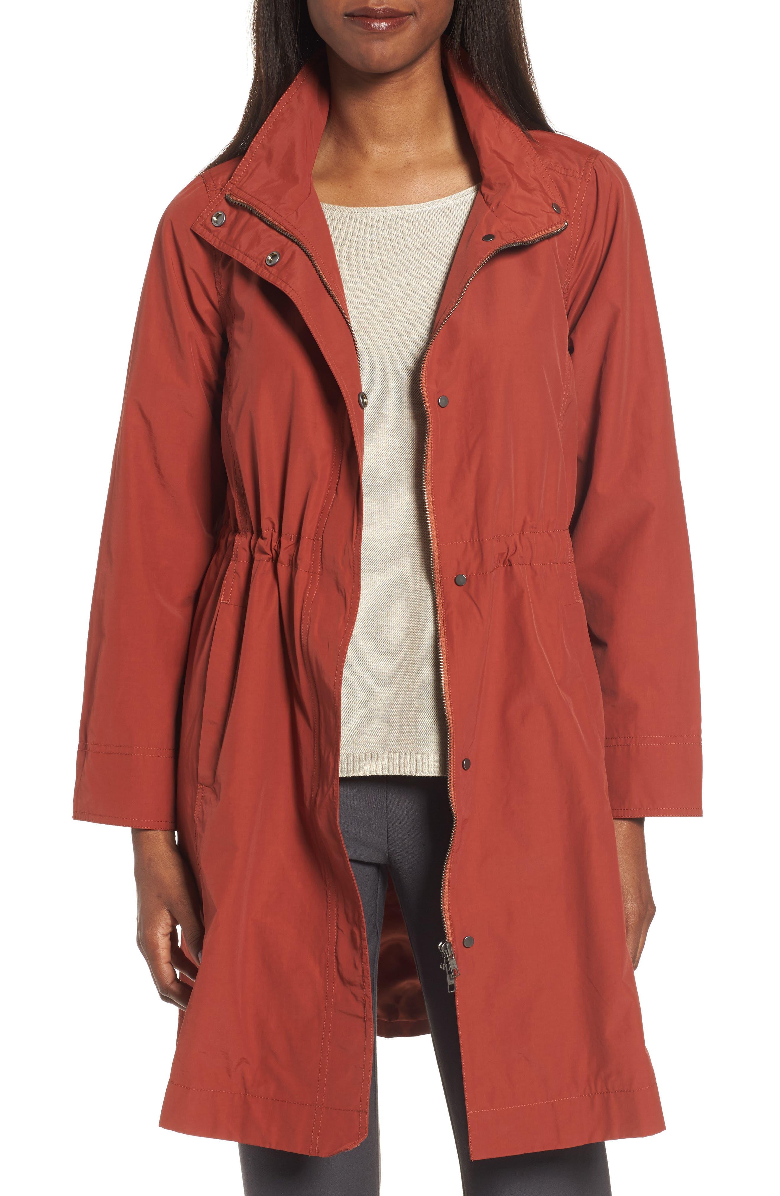 Long Organic Cotton Blend Jacket,                         Main,                         color, Paprika
