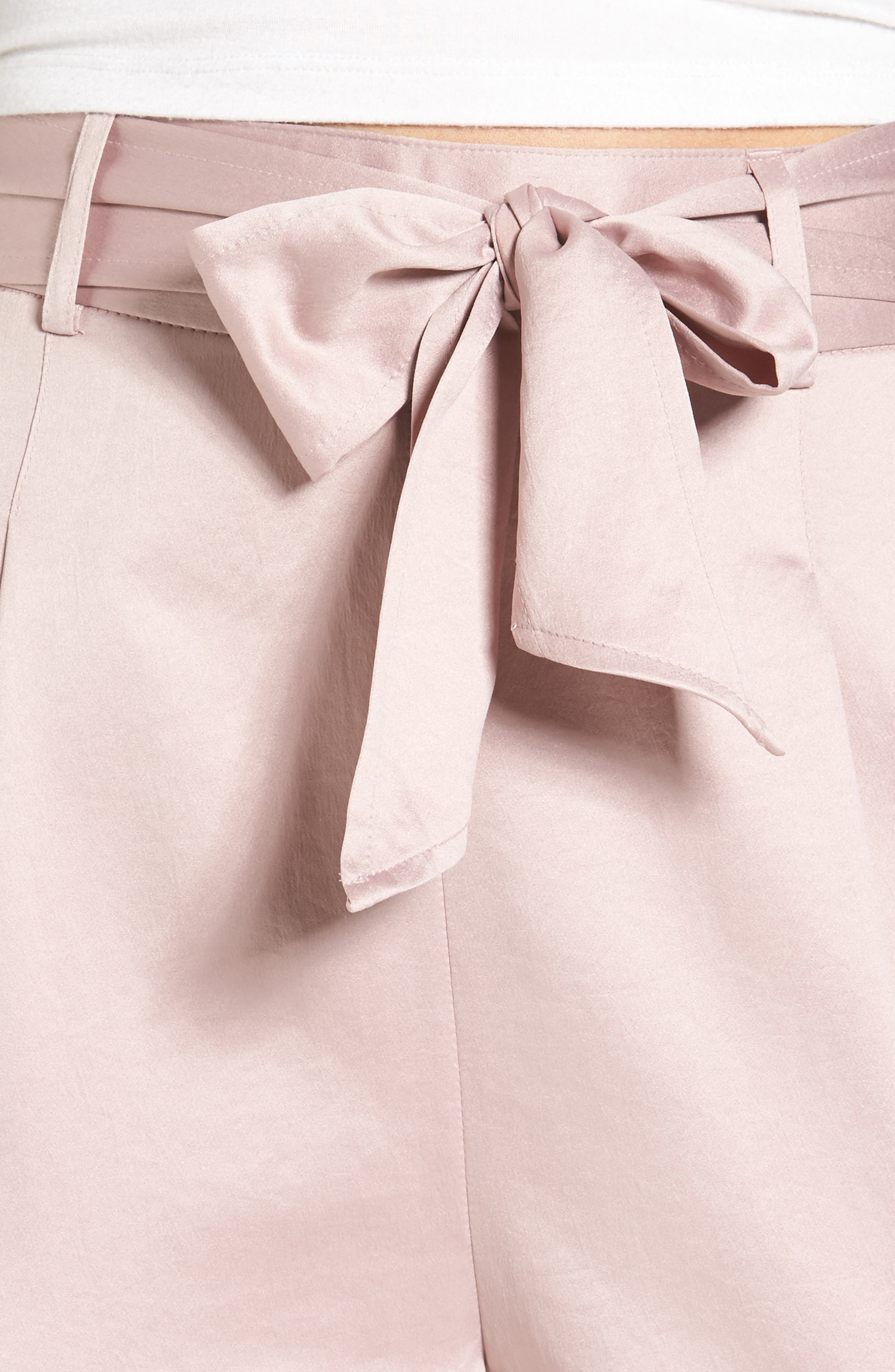 Tie Waist Satin Pants,                             Alternate thumbnail 4, color,                             Pink Adobe