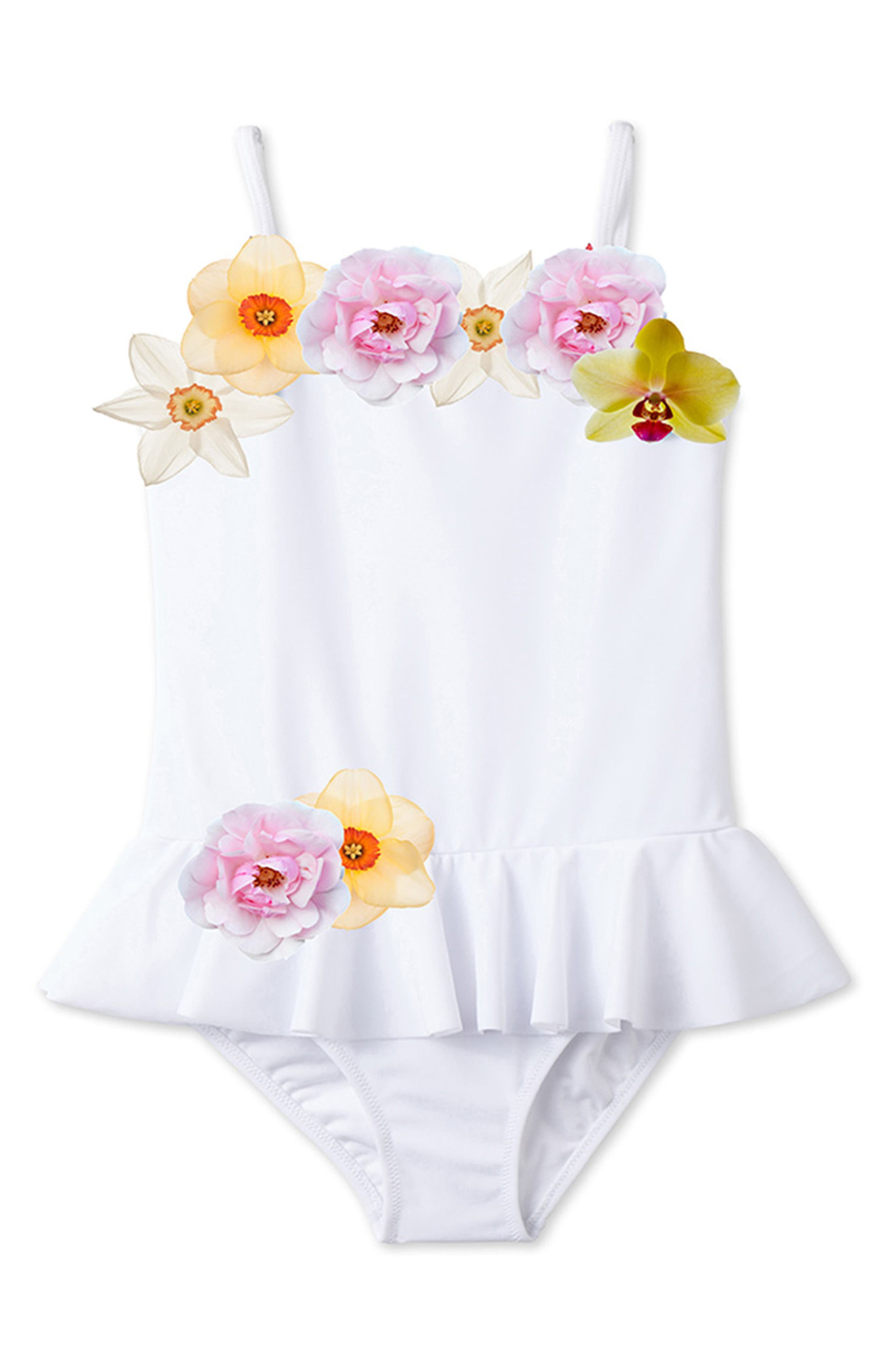 Alternate Image 1 Selected - Stella Cove 3D Floral One-Piece Swimsuit (Toddler Girls, Little Girls & Big Girls)