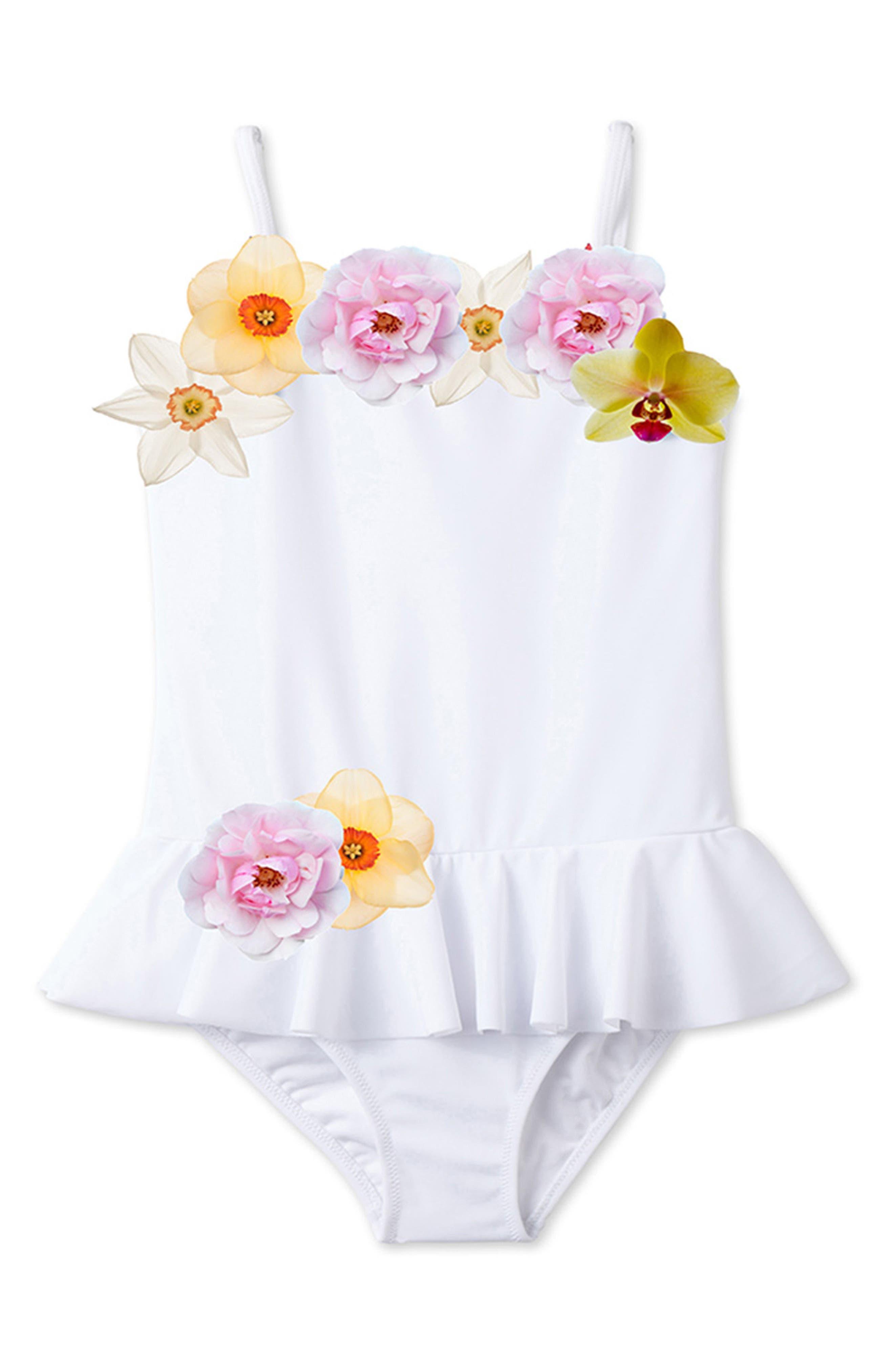 3D Floral One-Piece Swimsuit,                         Main,                         color, White