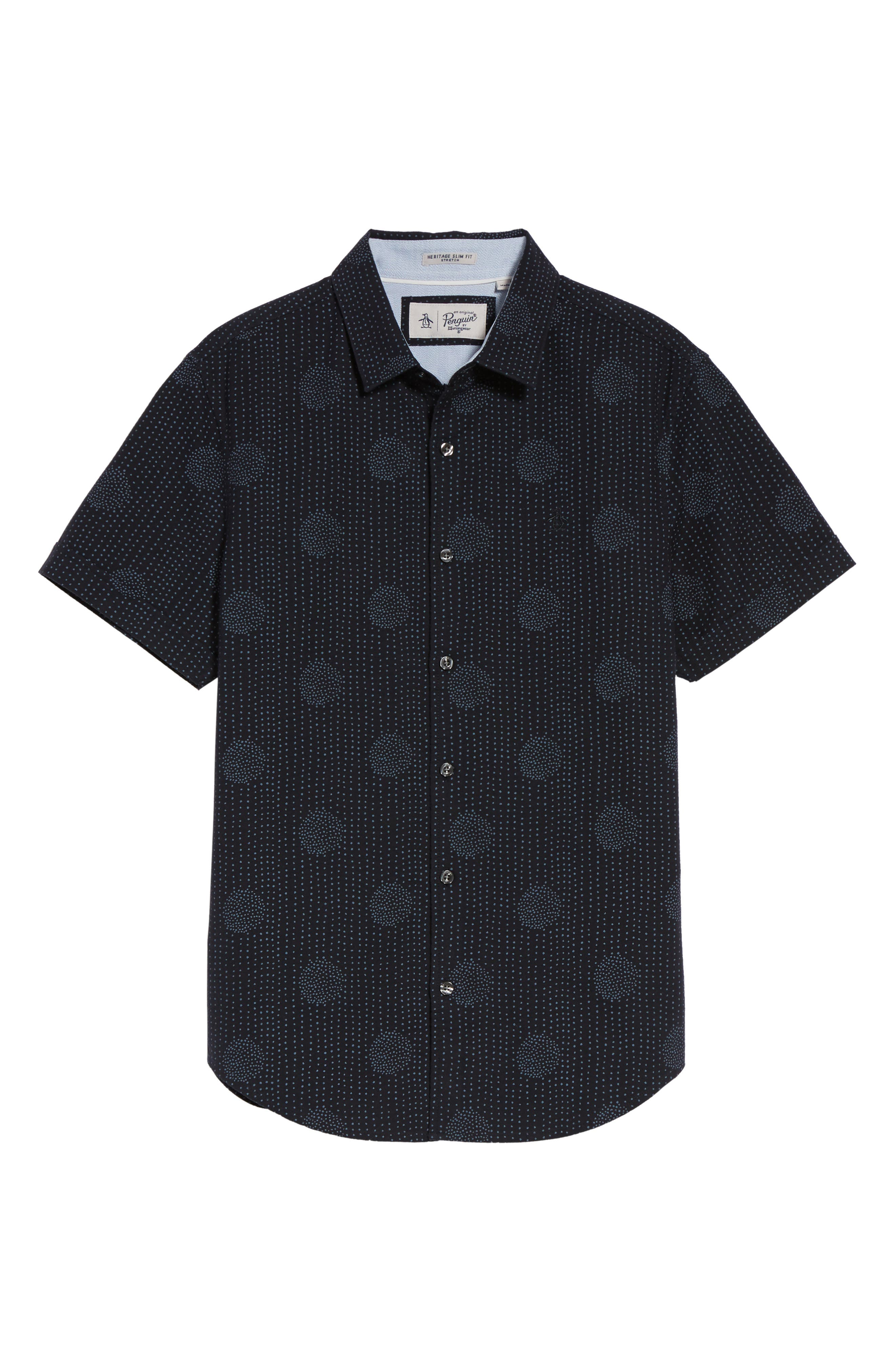 Heritage Slim Fit Dot Print Shirt,                             Alternate thumbnail 6, color,                             Dark Sapphire