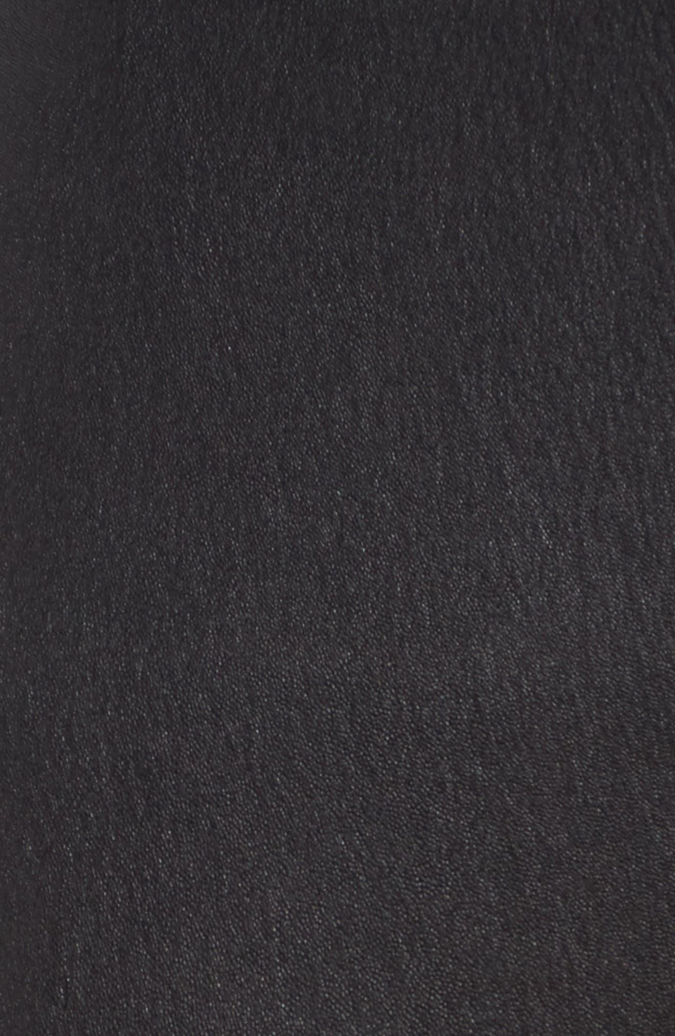 Leather Blocked Leggings,                             Alternate thumbnail 5, color,                             Black