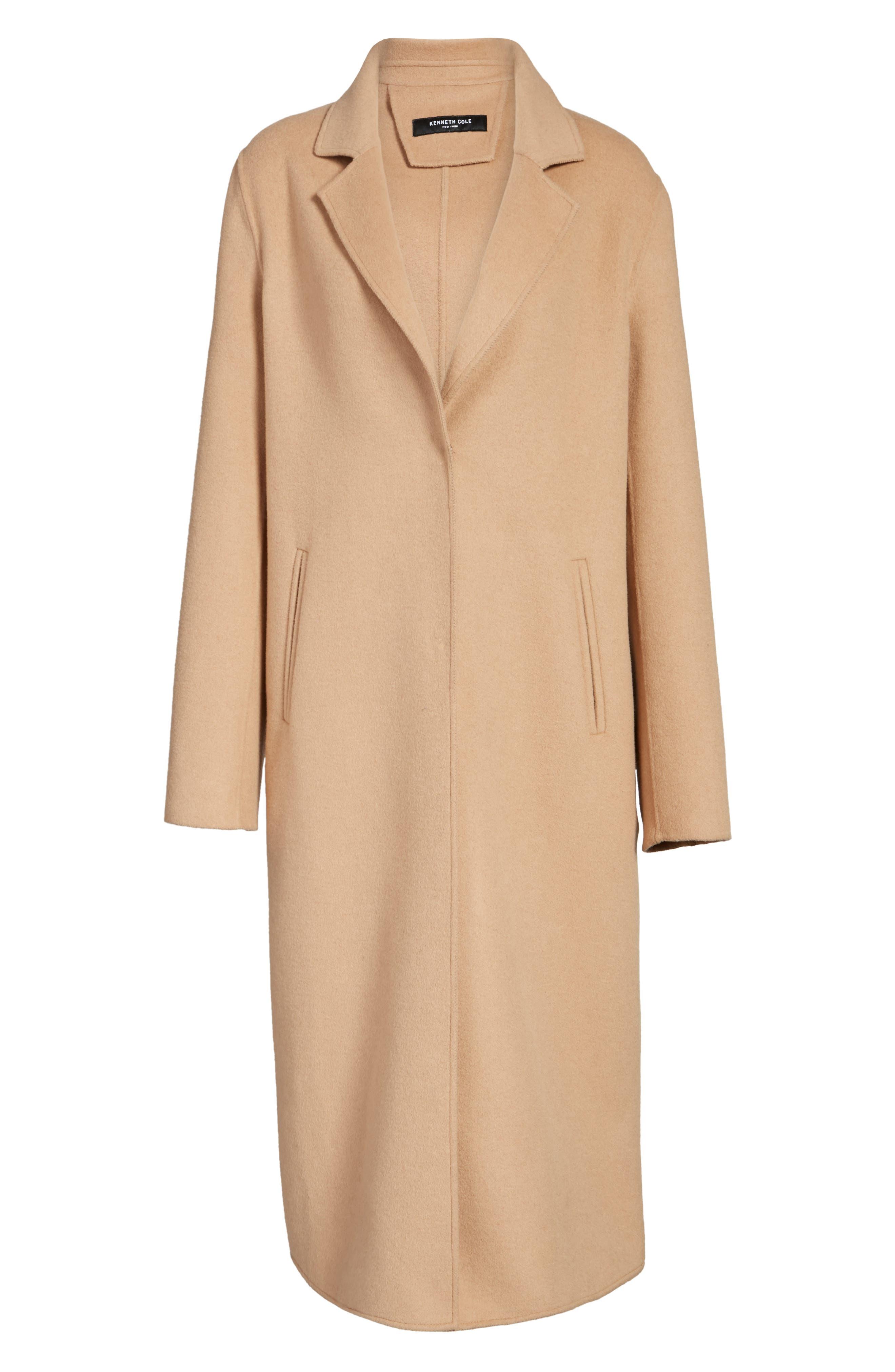 Double Face Wool Blend Long Coat,                             Alternate thumbnail 6, color,                             Camel
