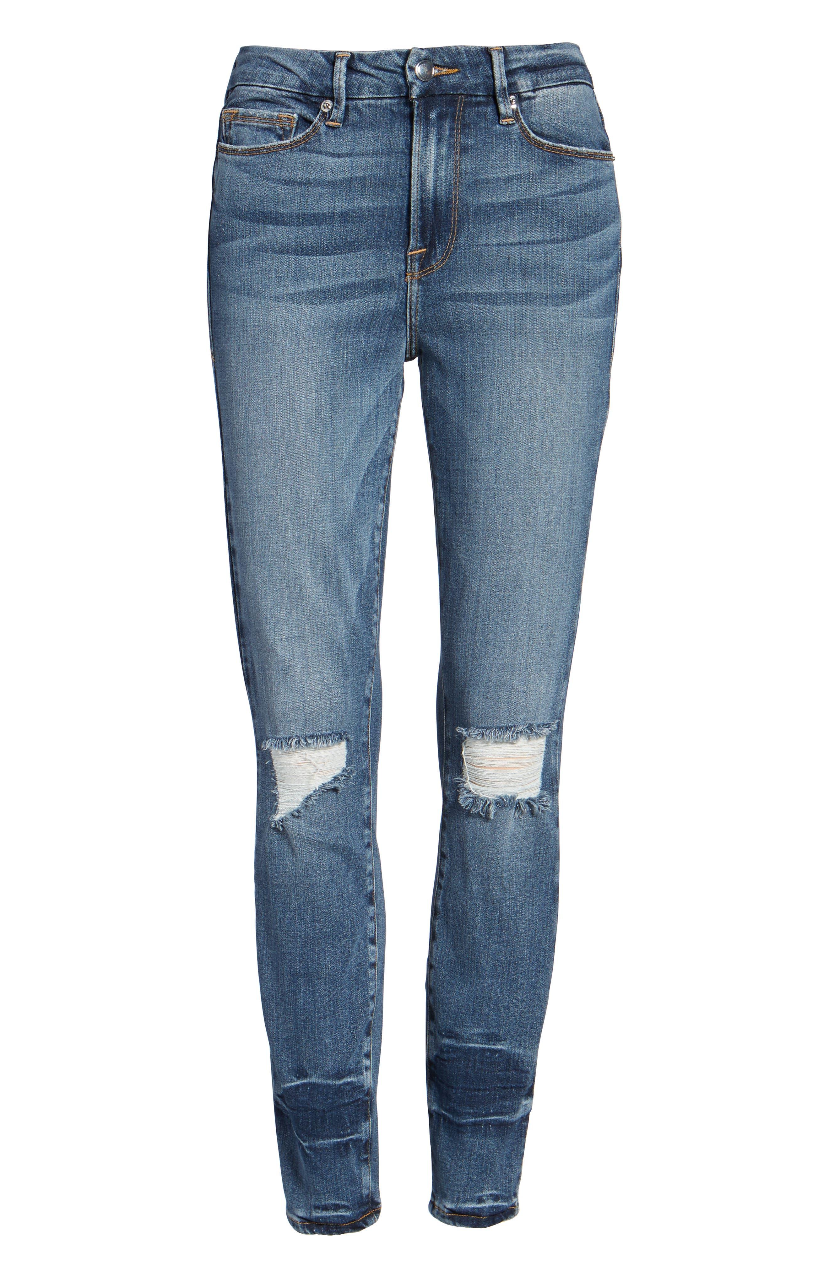 Alternate Image 6  - Good American Good Legs High Waist Ankle Skinny Jeans (Blue 084) (Regular & Plus Size)
