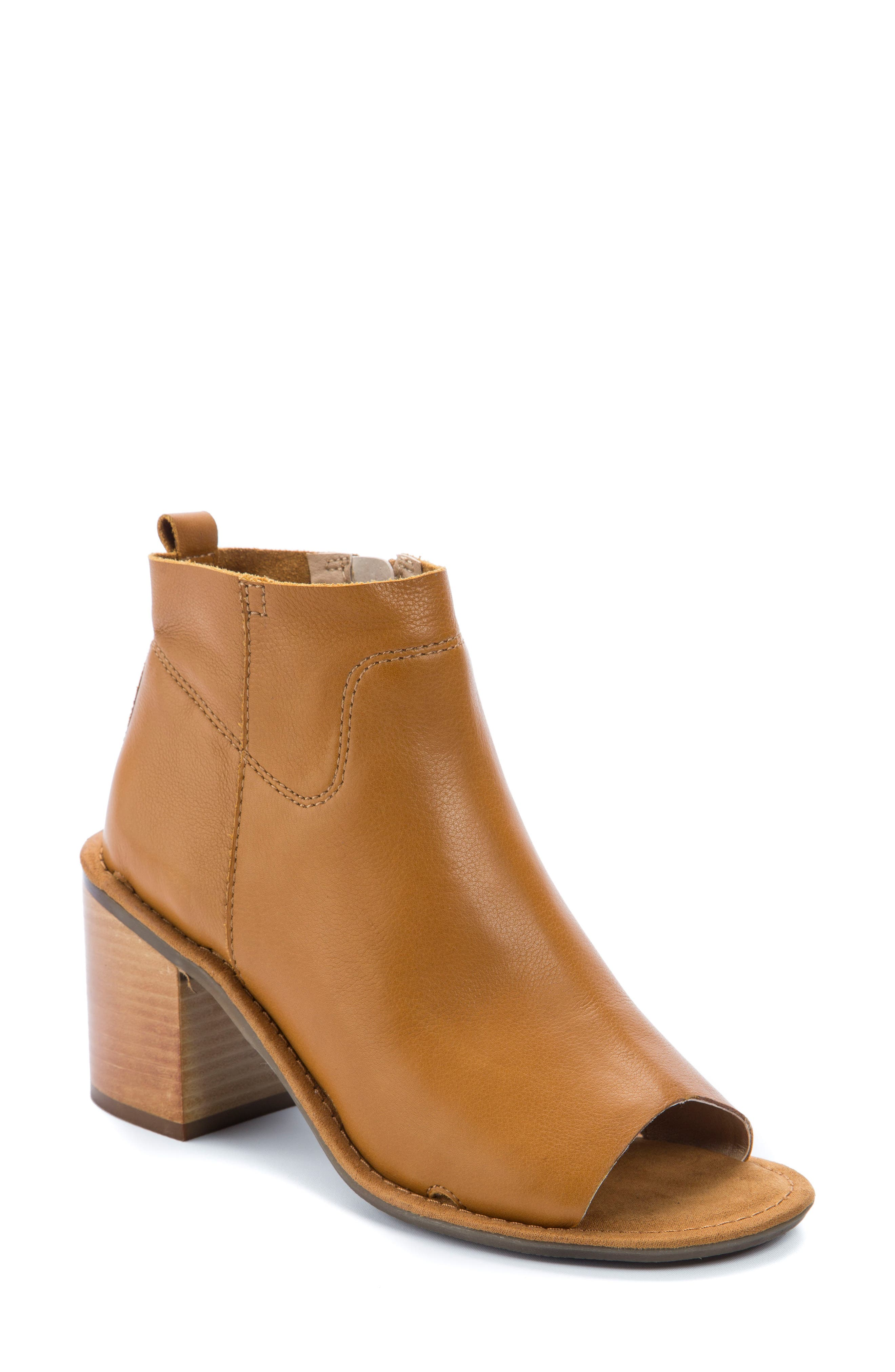 Vivvy Peep Toe Bootie,                         Main,                         color, Amber