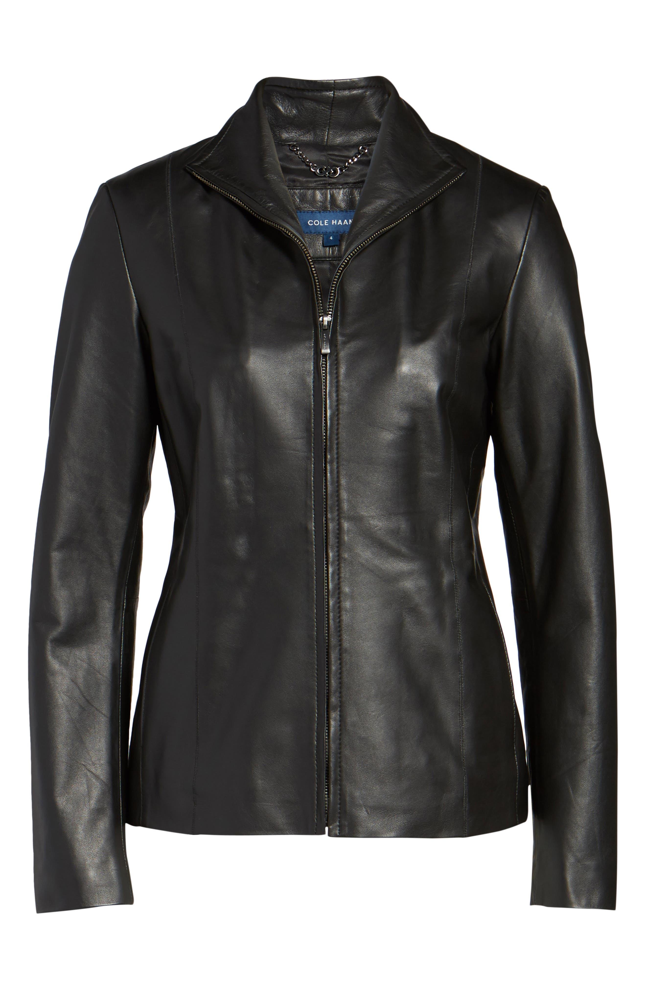 Lambskin Leather Scuba Jacket,                             Alternate thumbnail 6, color,                             Black