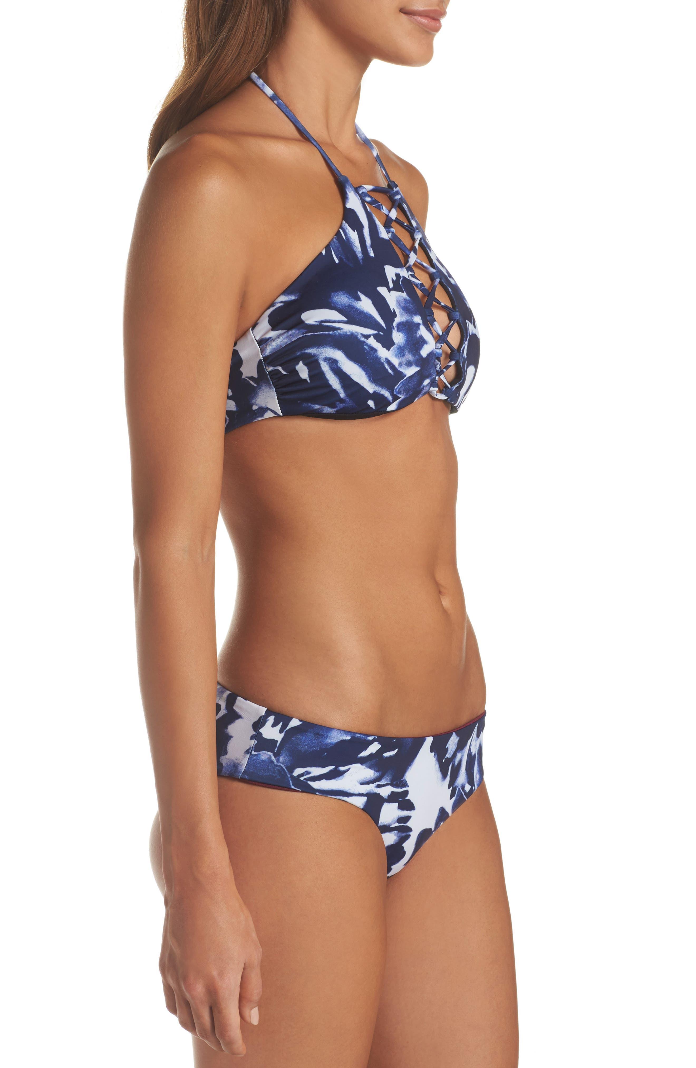 High Neck Bikini Top,                             Alternate thumbnail 3, color,                             Blue Mazarine Floral
