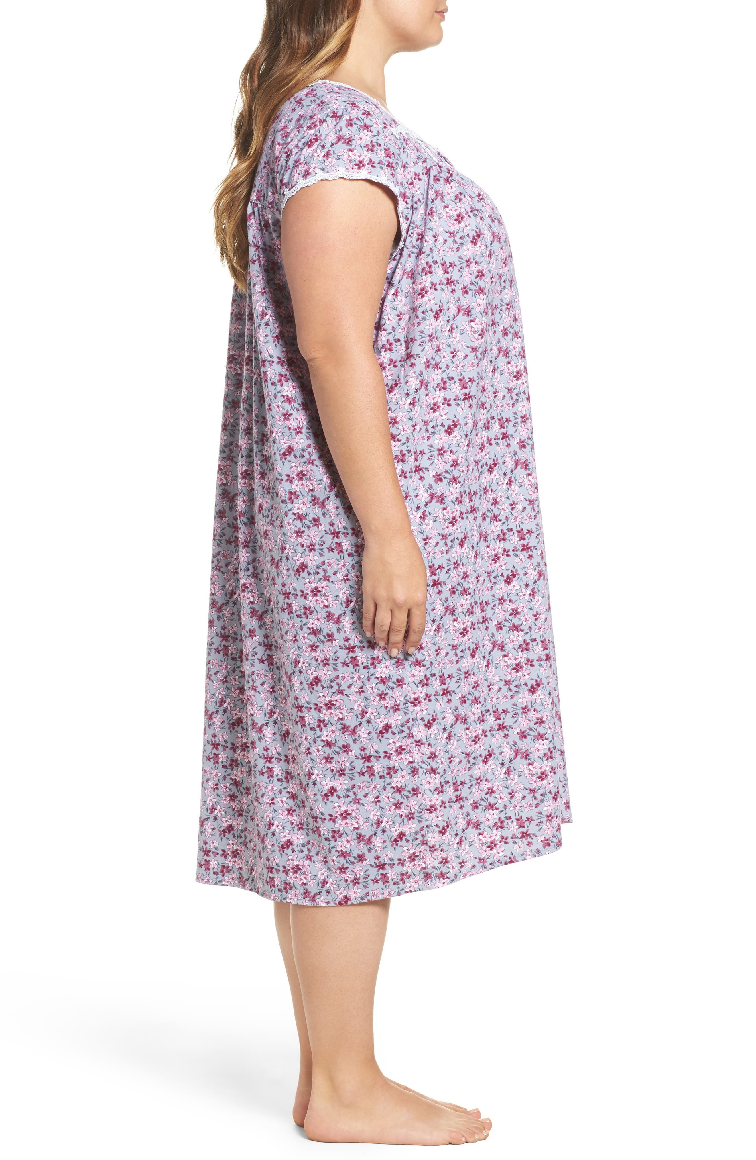 Floral Print Waltz Nightgown,                             Alternate thumbnail 3, color,                             Grey