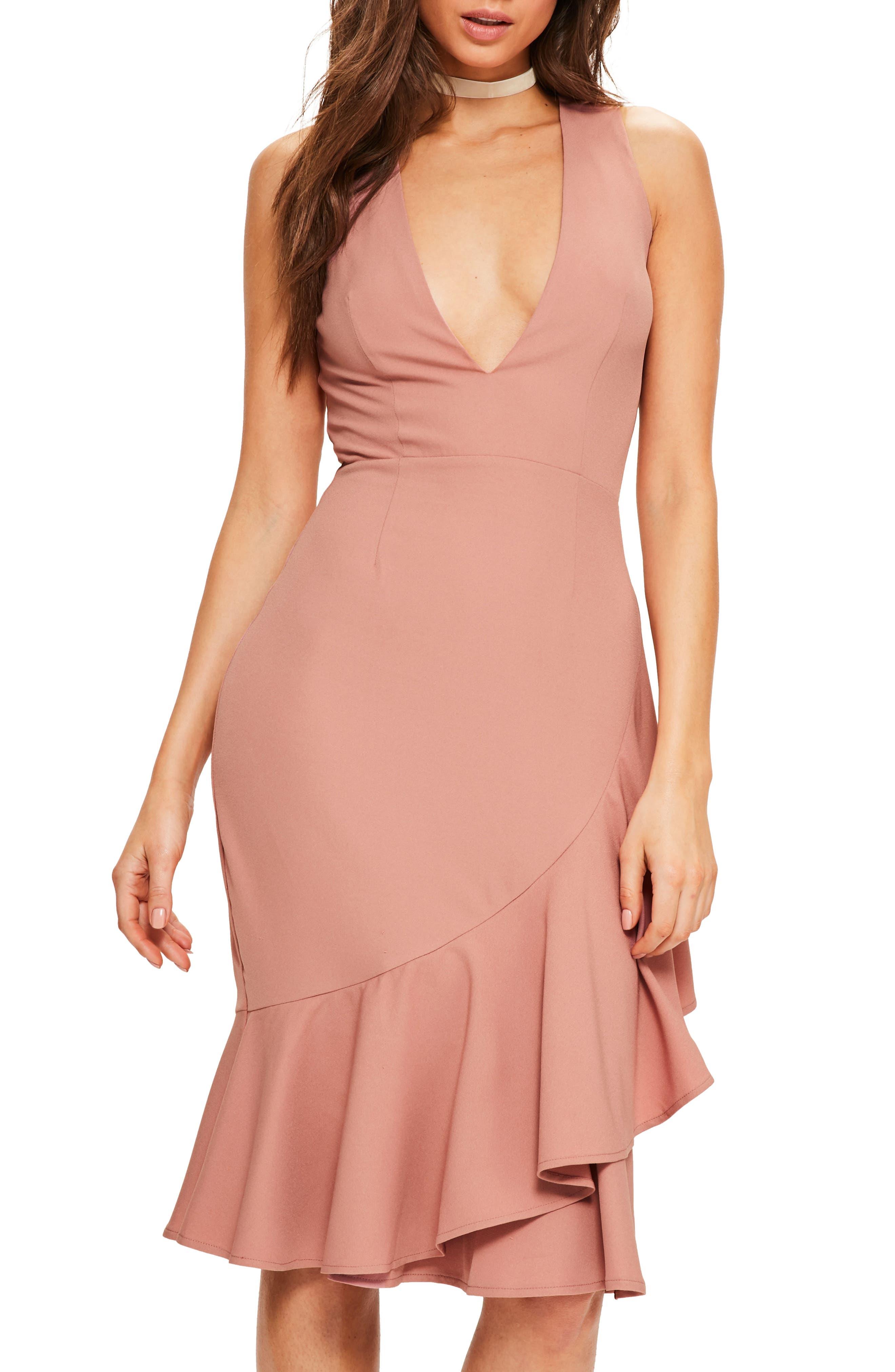 Plunge Ruffle Body-Con Dress,                         Main,                         color, Rose