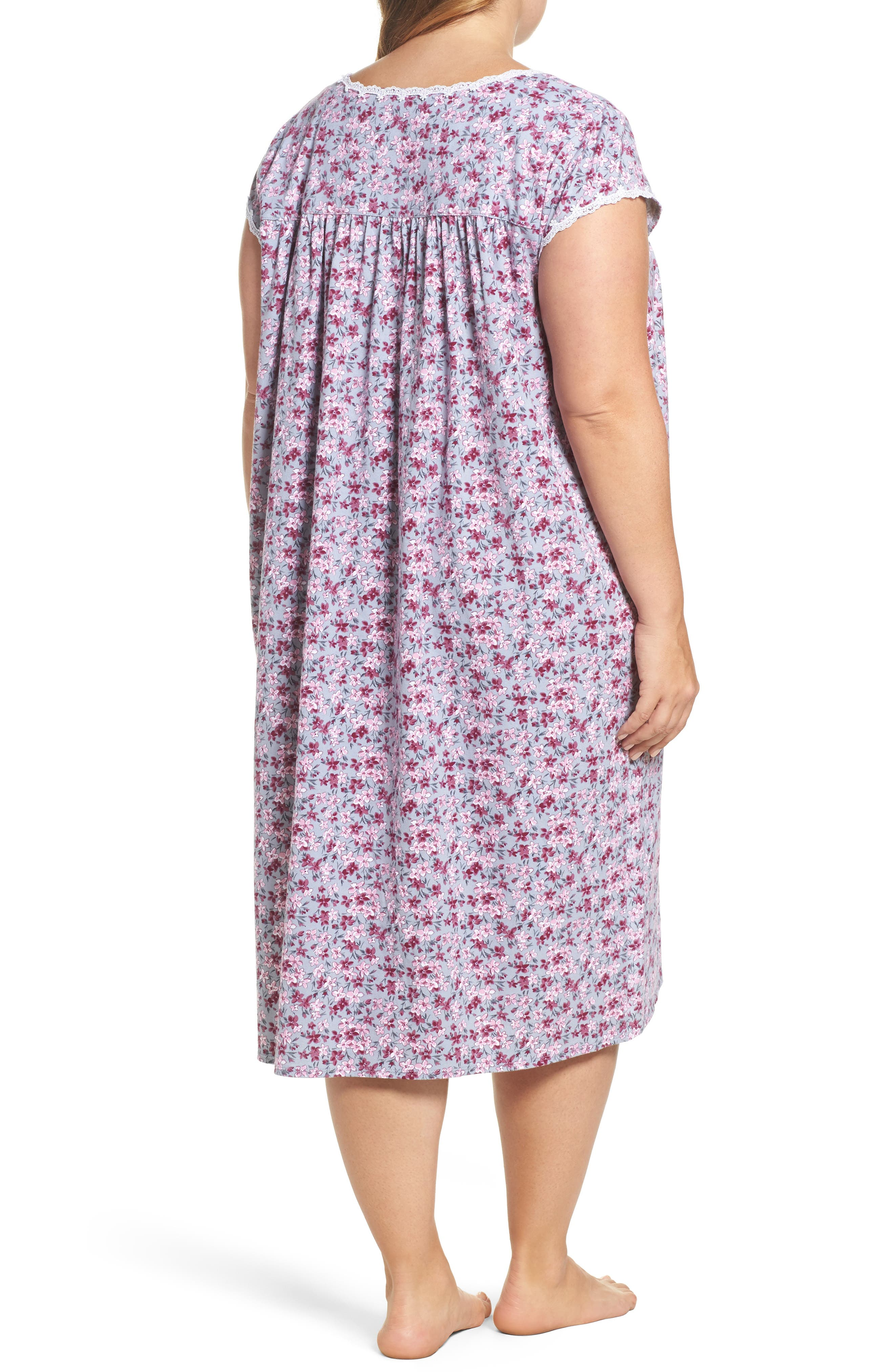 Floral Print Waltz Nightgown,                             Alternate thumbnail 2, color,                             Grey
