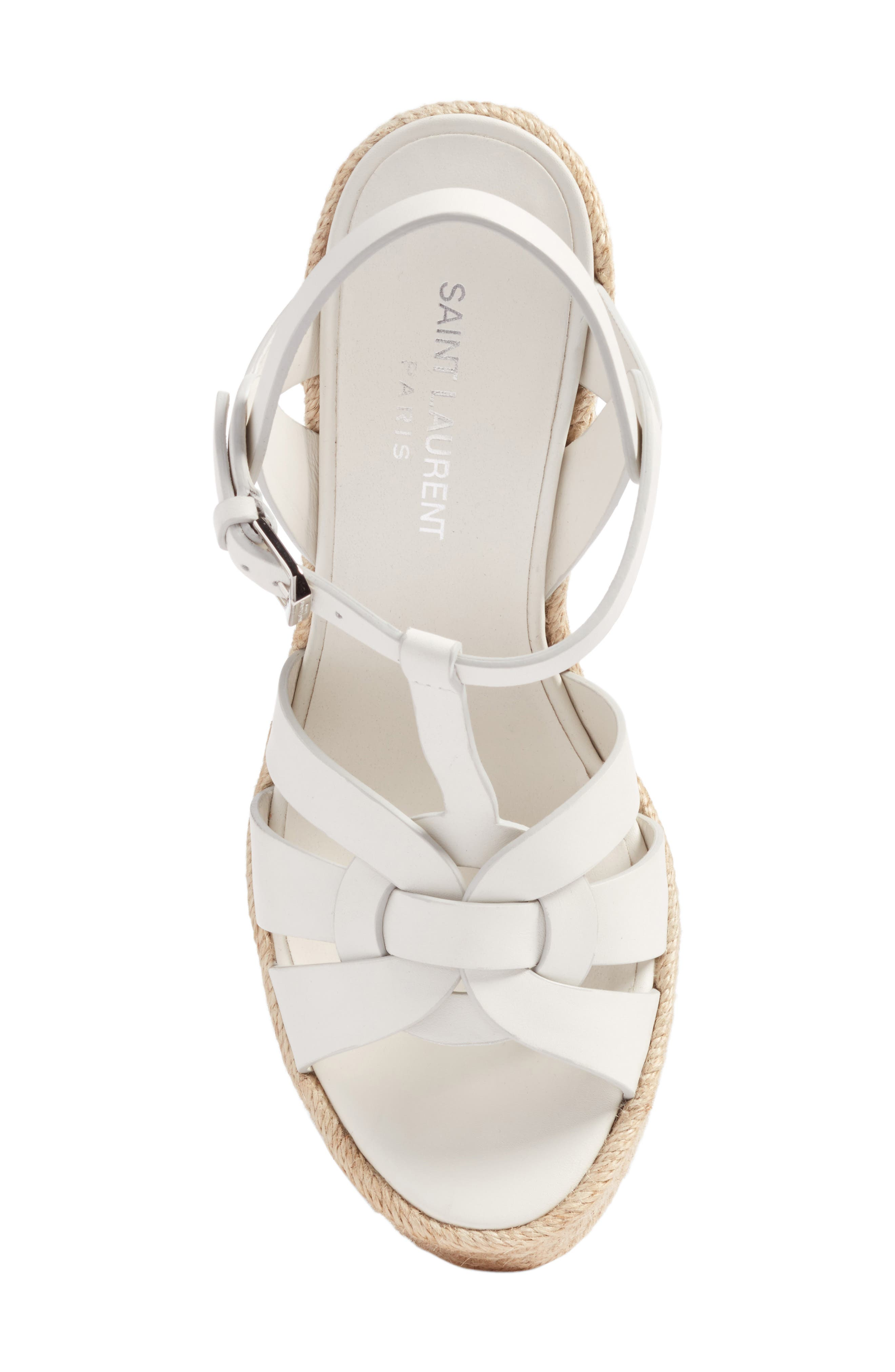 Tribute Espadrille Wedge,                             Alternate thumbnail 5, color,                             White Leather