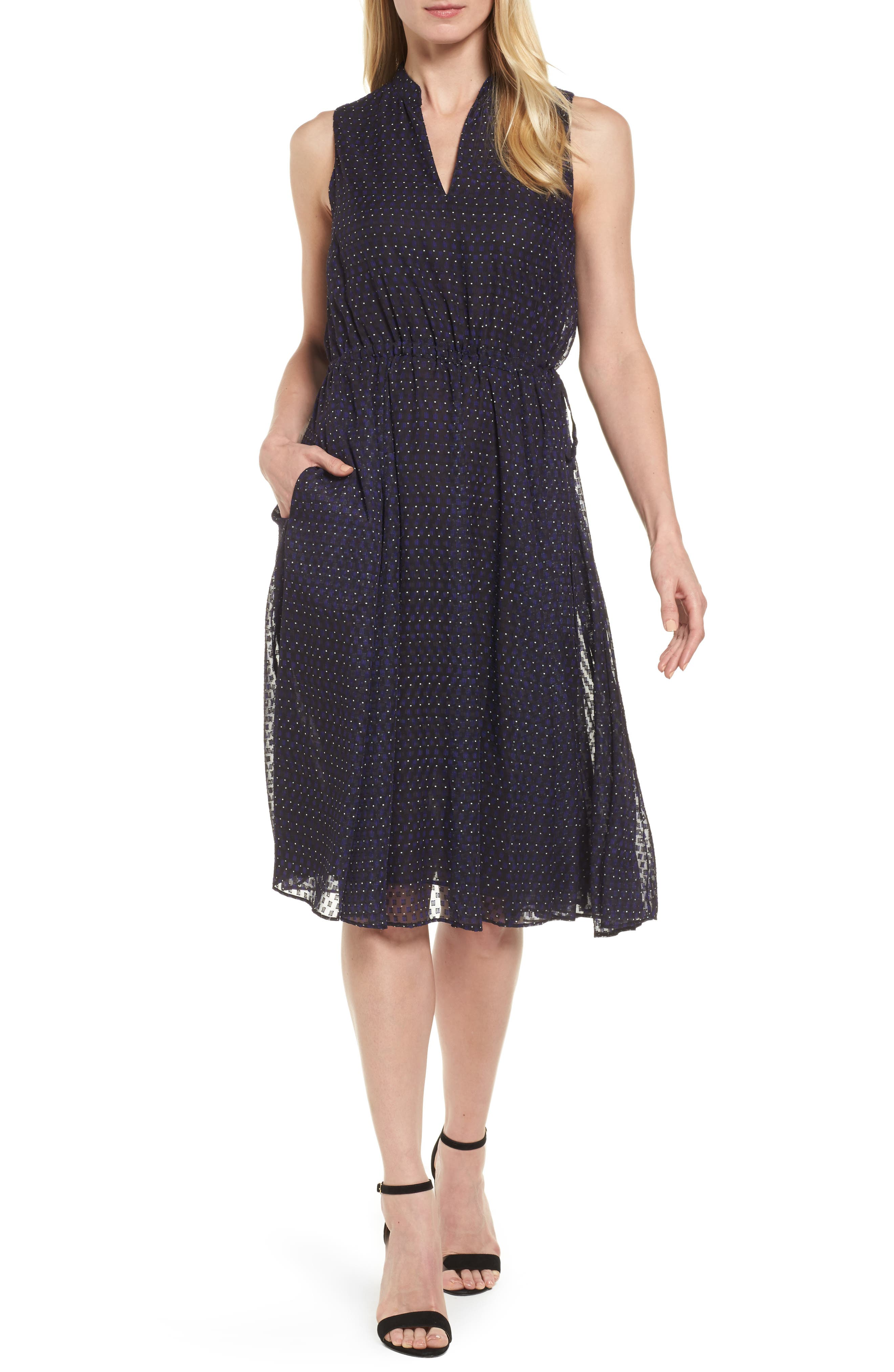 Print A-Line Dress,                             Alternate thumbnail 4, color,                             African Violet Combo