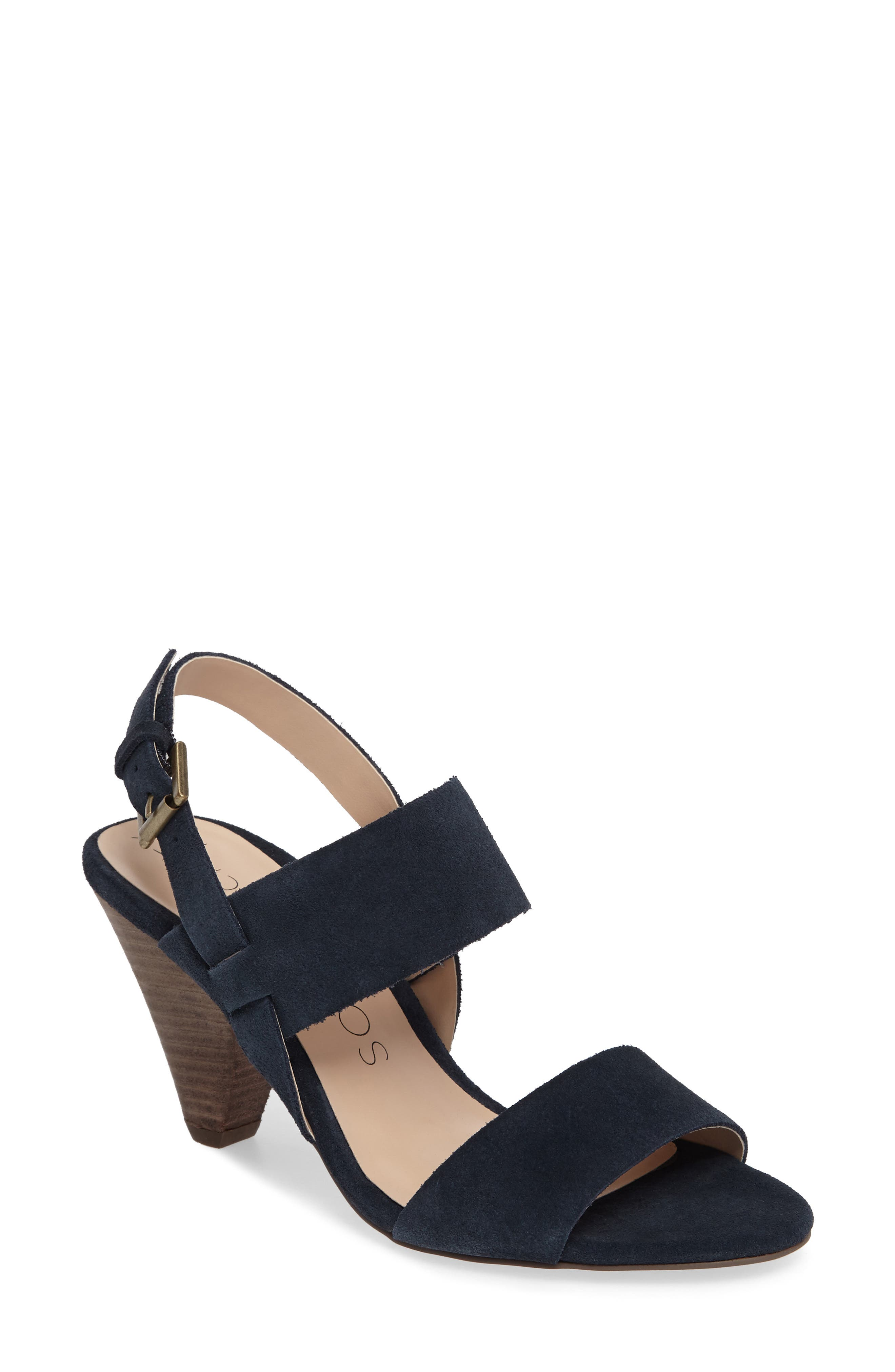Valor Cone Heel Sandal,                             Main thumbnail 1, color,                             Ink Navy Suede