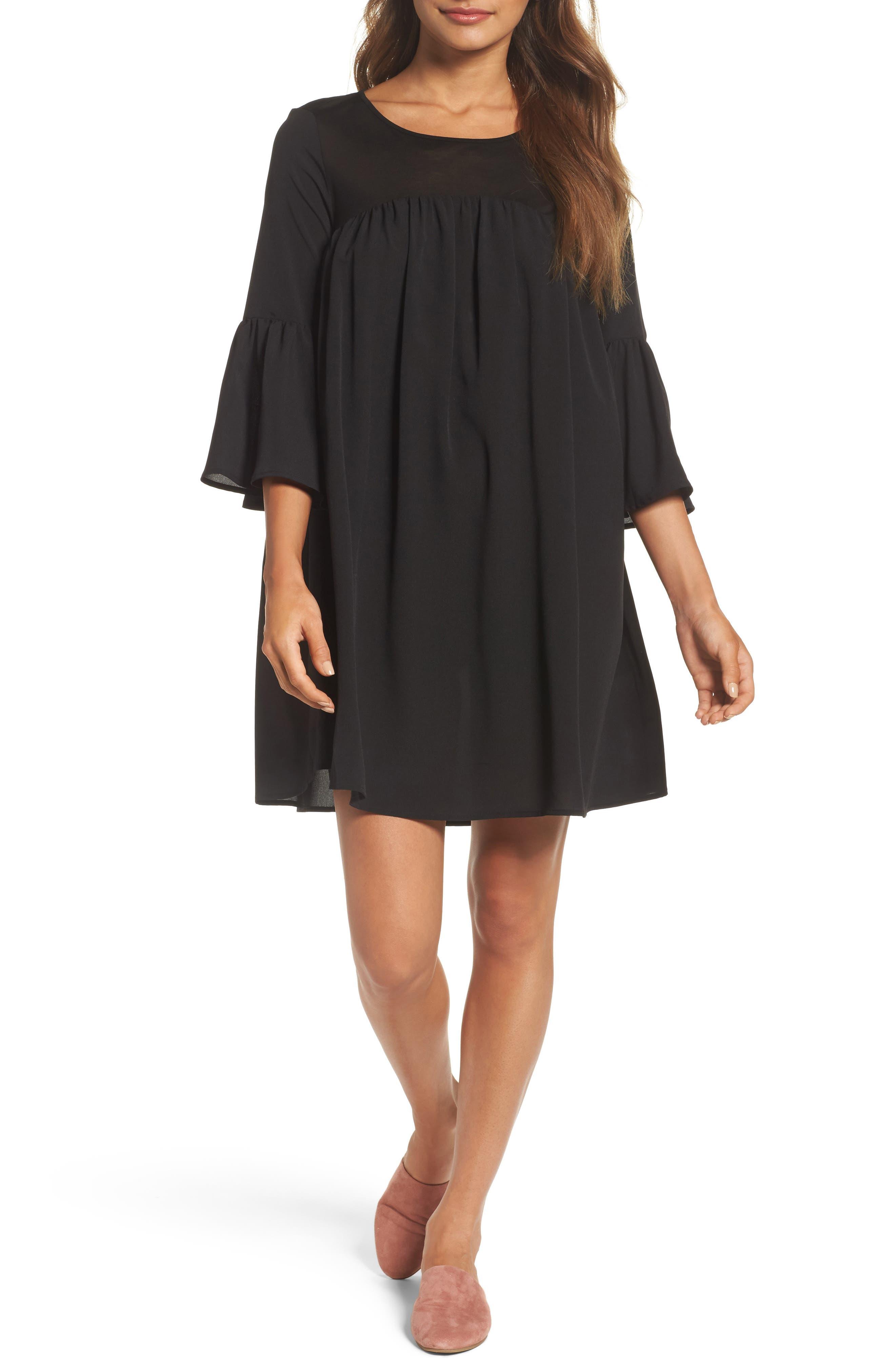 Polly Plains Shift Dress,                             Main thumbnail 1, color,                             Black