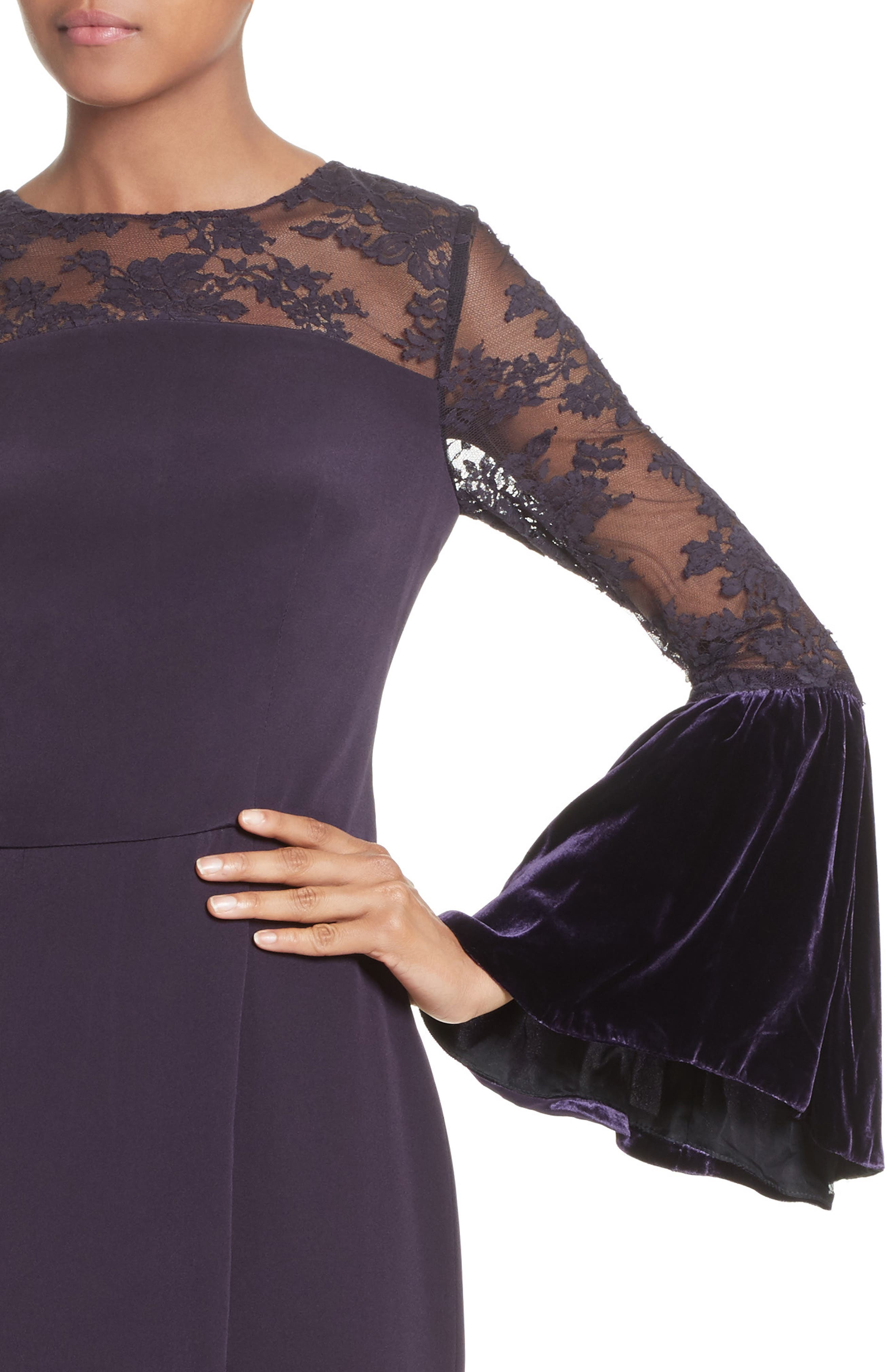 Lace & Velvet Trim Crepe Gown,                             Alternate thumbnail 4, color,                             Aubergine