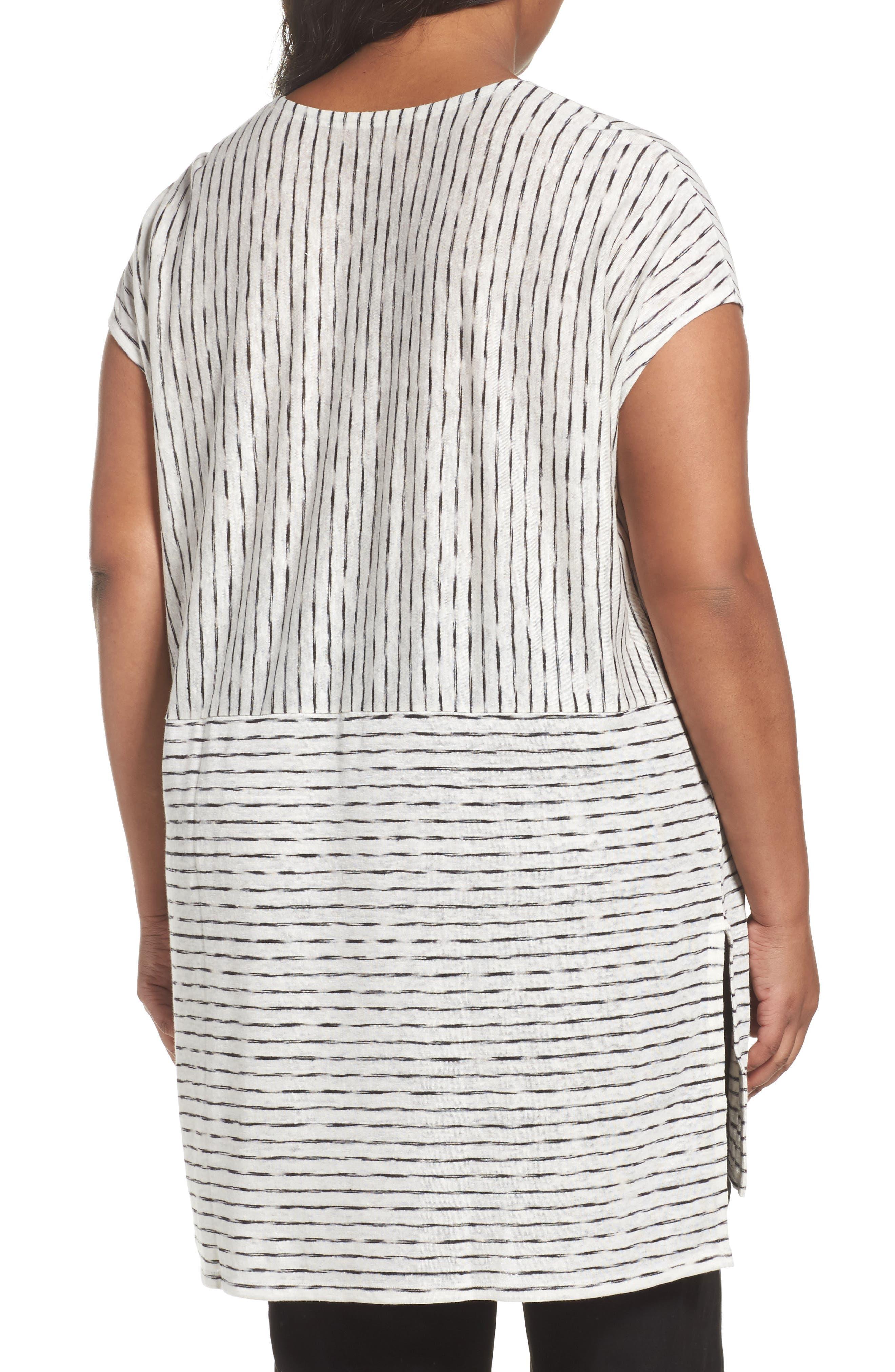 Alternate Image 2  - Eileen Fisher Painterly Organic Linen Jersey Tunic (Plus Size)