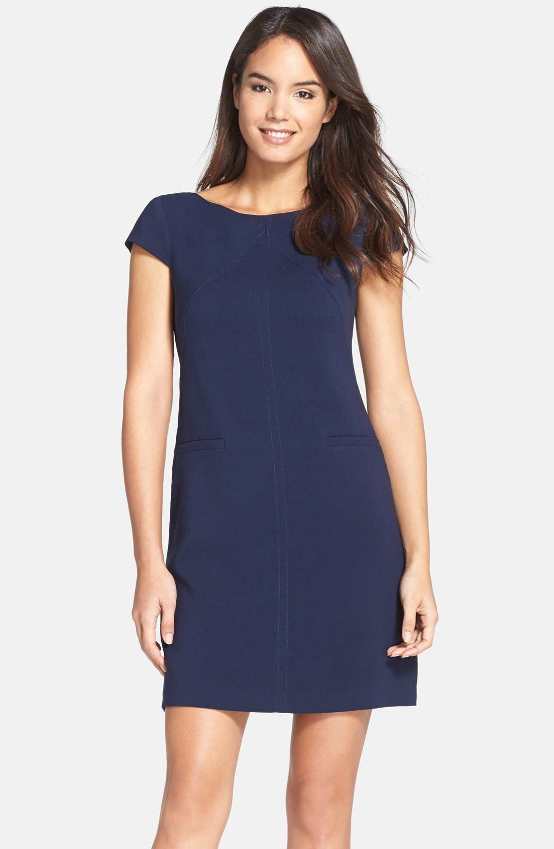 Main Image - Eliza J Seamed Crepe Shift Dress