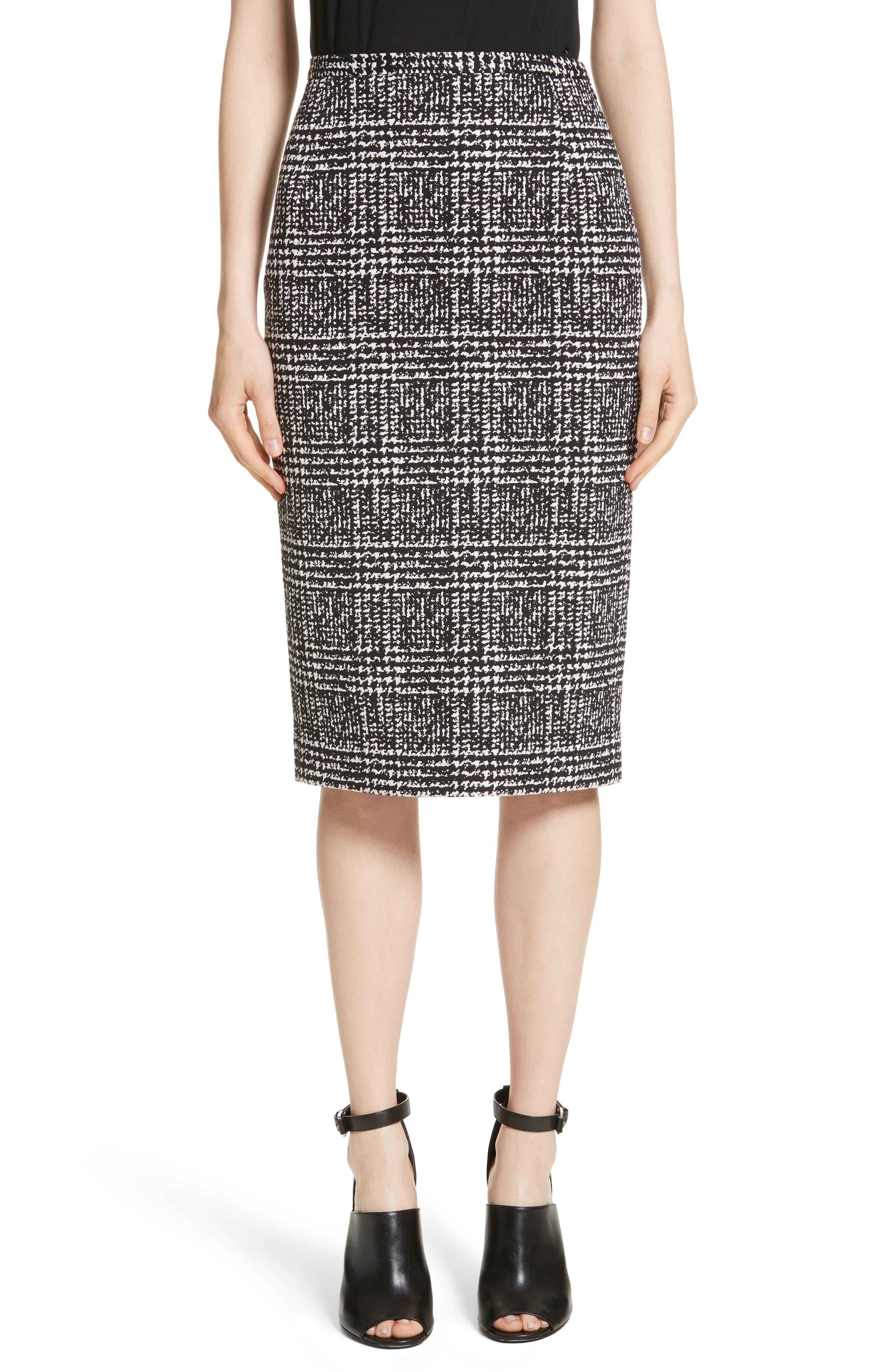 Glen Plaid Stretch Jacquard Skirt,                         Main,                         color, White/ Black