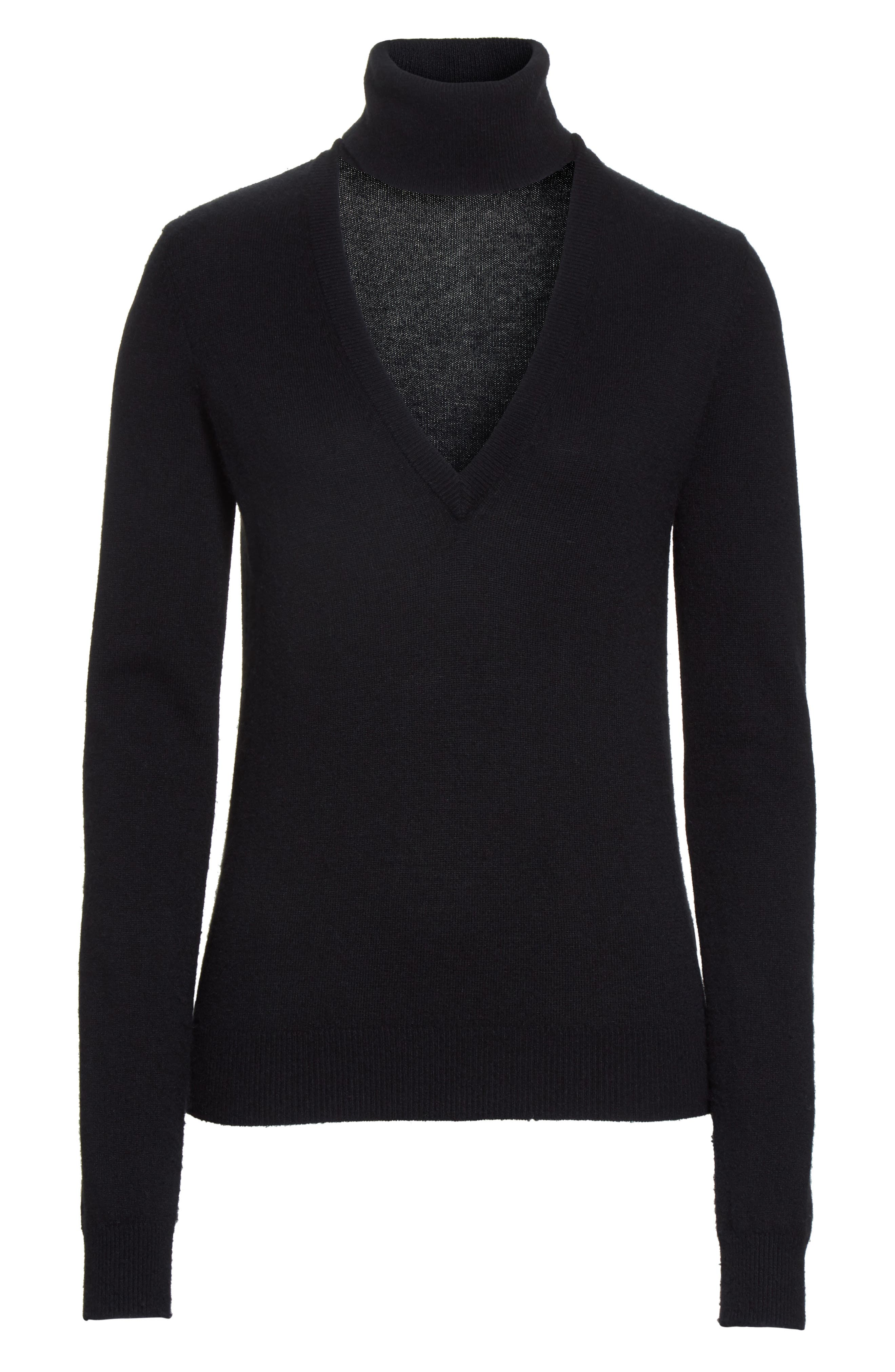 Cutout Turtleneck Cashmere Sweater,                             Alternate thumbnail 6, color,                             Black