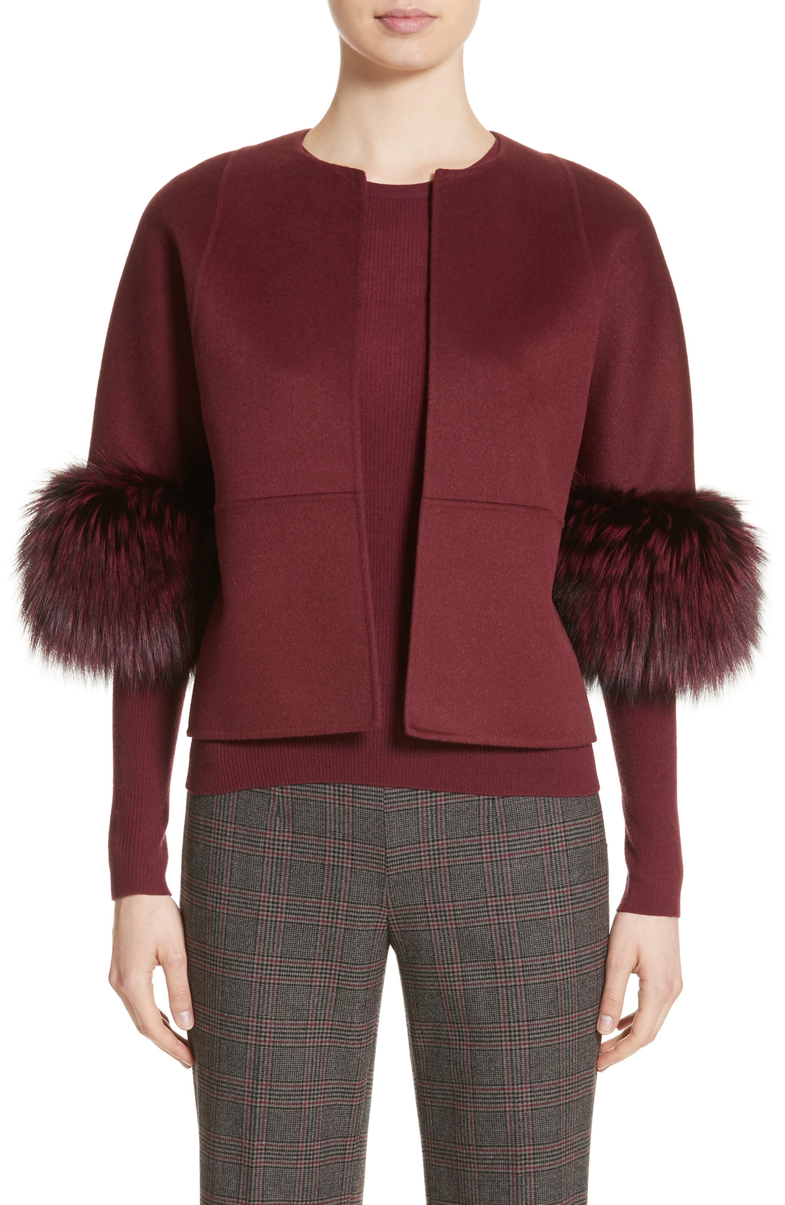 Michael Kors Genuine Fox Fur Trim Wool, Angora & Cashgora Jacket