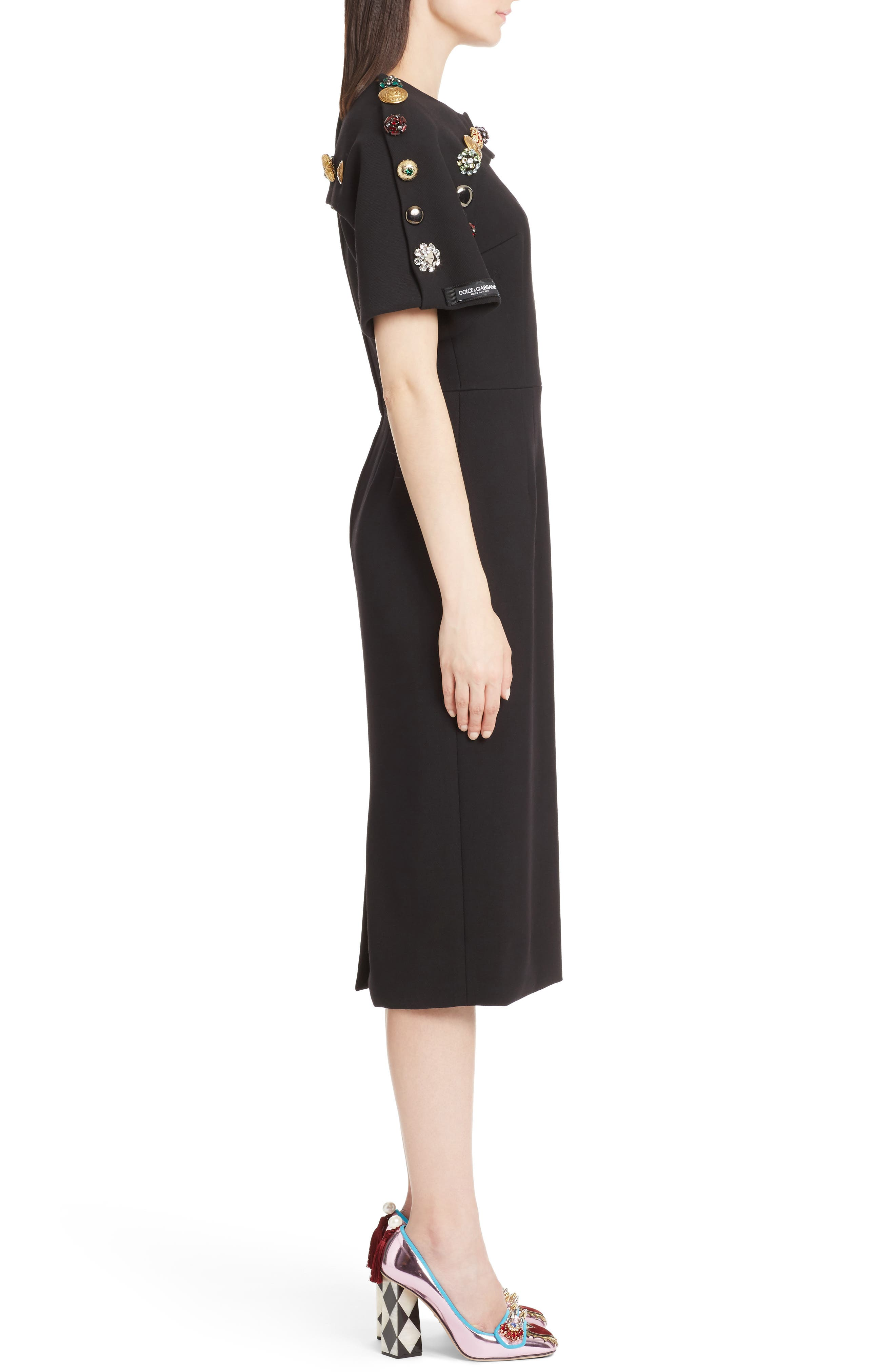 Alternate Image 3  - Dolce&Gabbana Button Trim Stretch Wool Sheath Dress