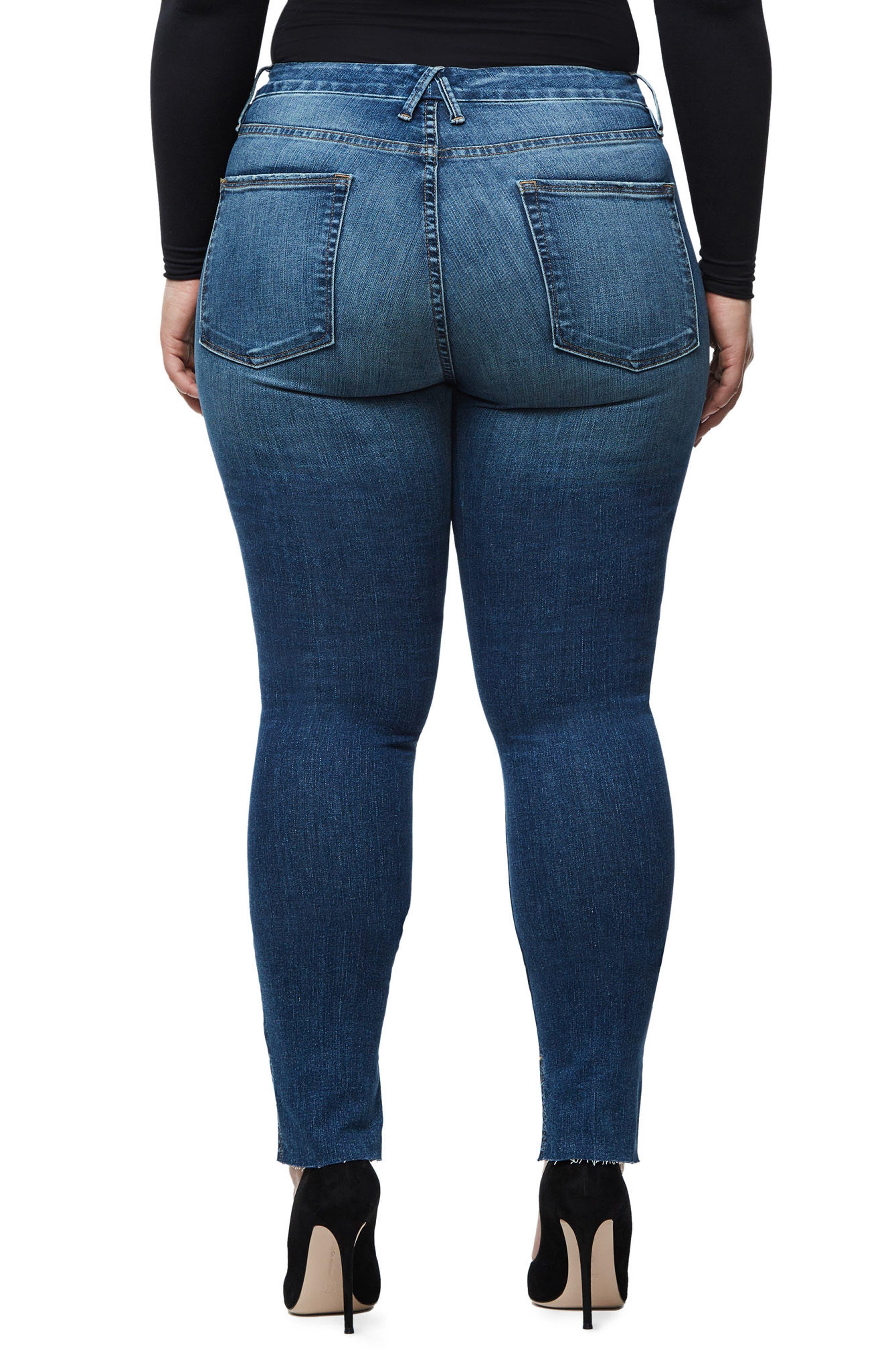 Good Waist Stagger Hem Jeans,                             Alternate thumbnail 8, color,                             Blue074
