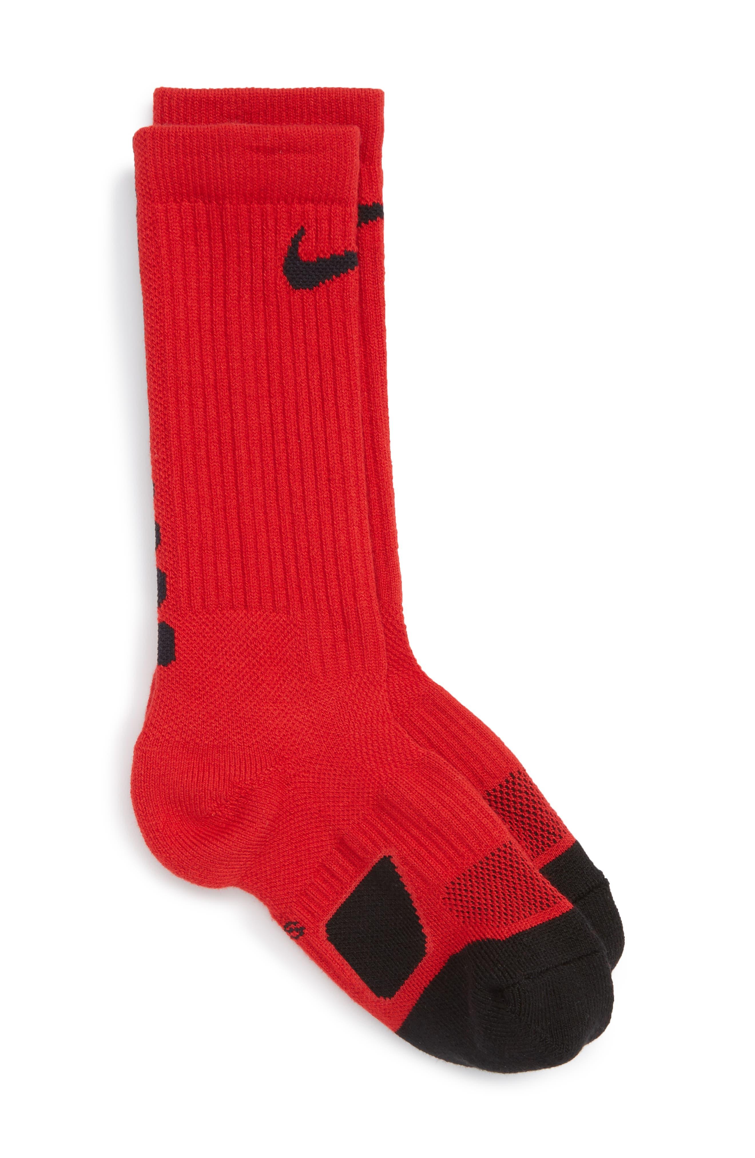 Elite Versatility Crew Socks,                         Main,                         color, Red/ Black