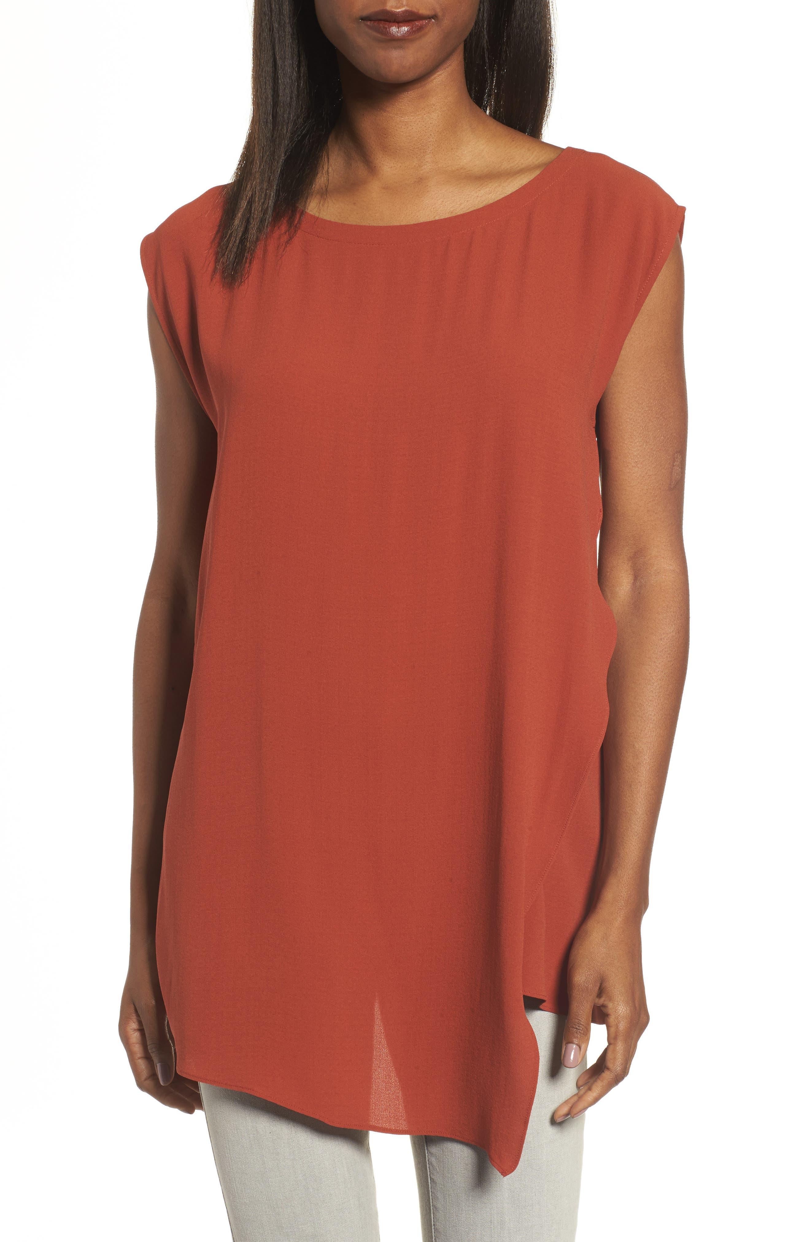 Main Image - Eileen Fisher Asymmetrical Silk Tunic (Regular & Petite)