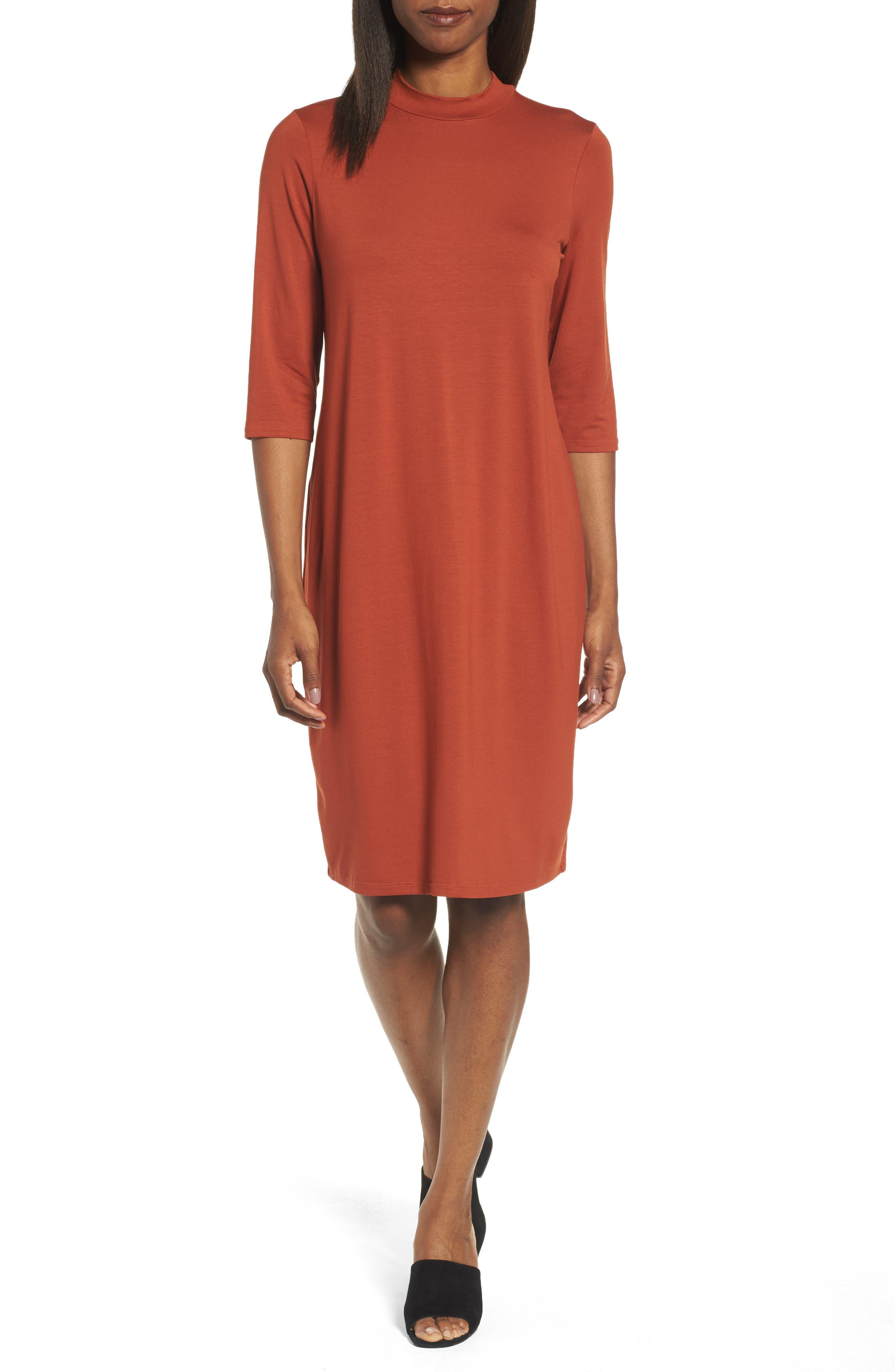 Eileen Fisher Mock Neck Jersey Shift Dress