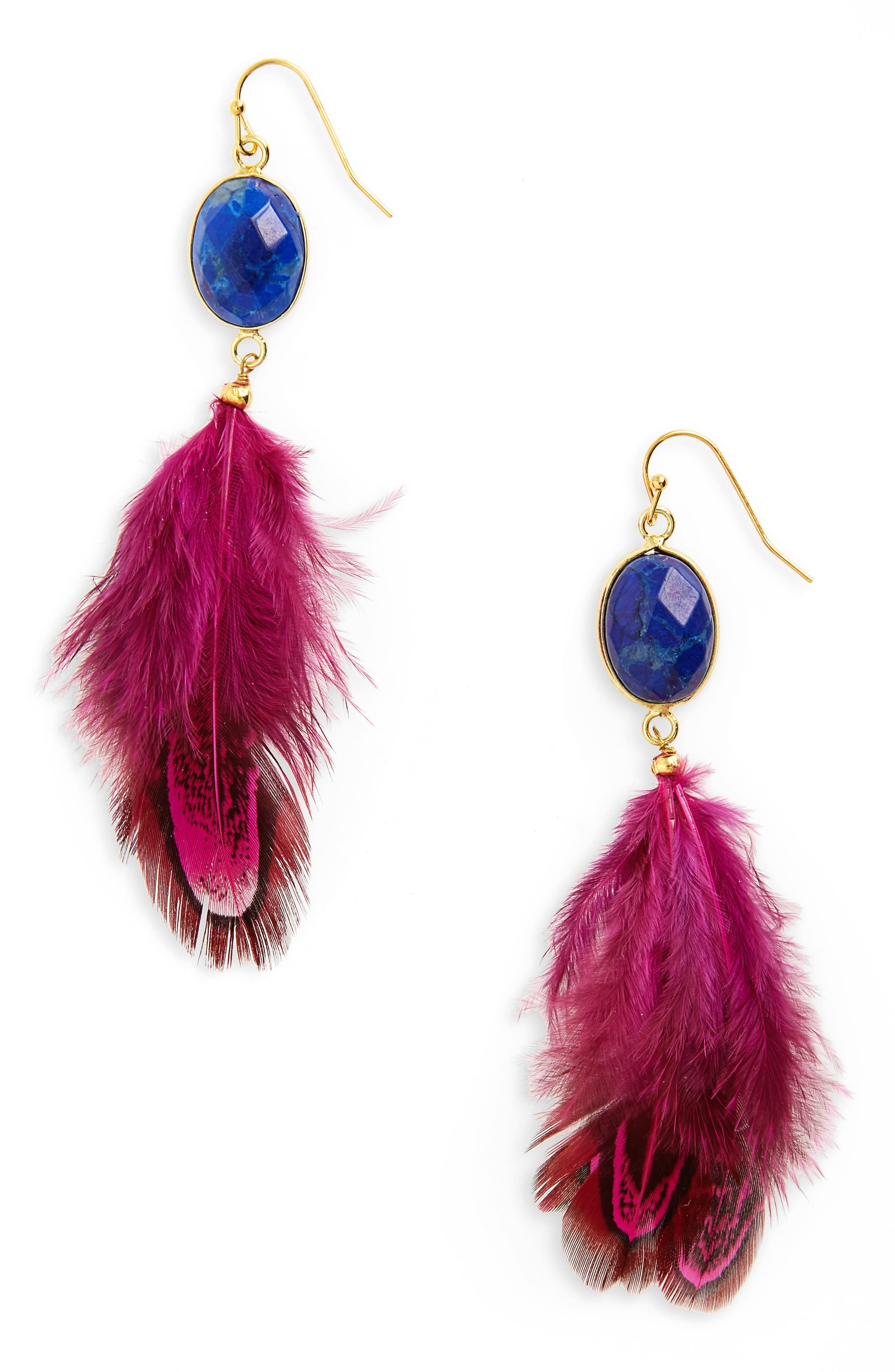 PANACEA Feather Shoulder Duster Earrings