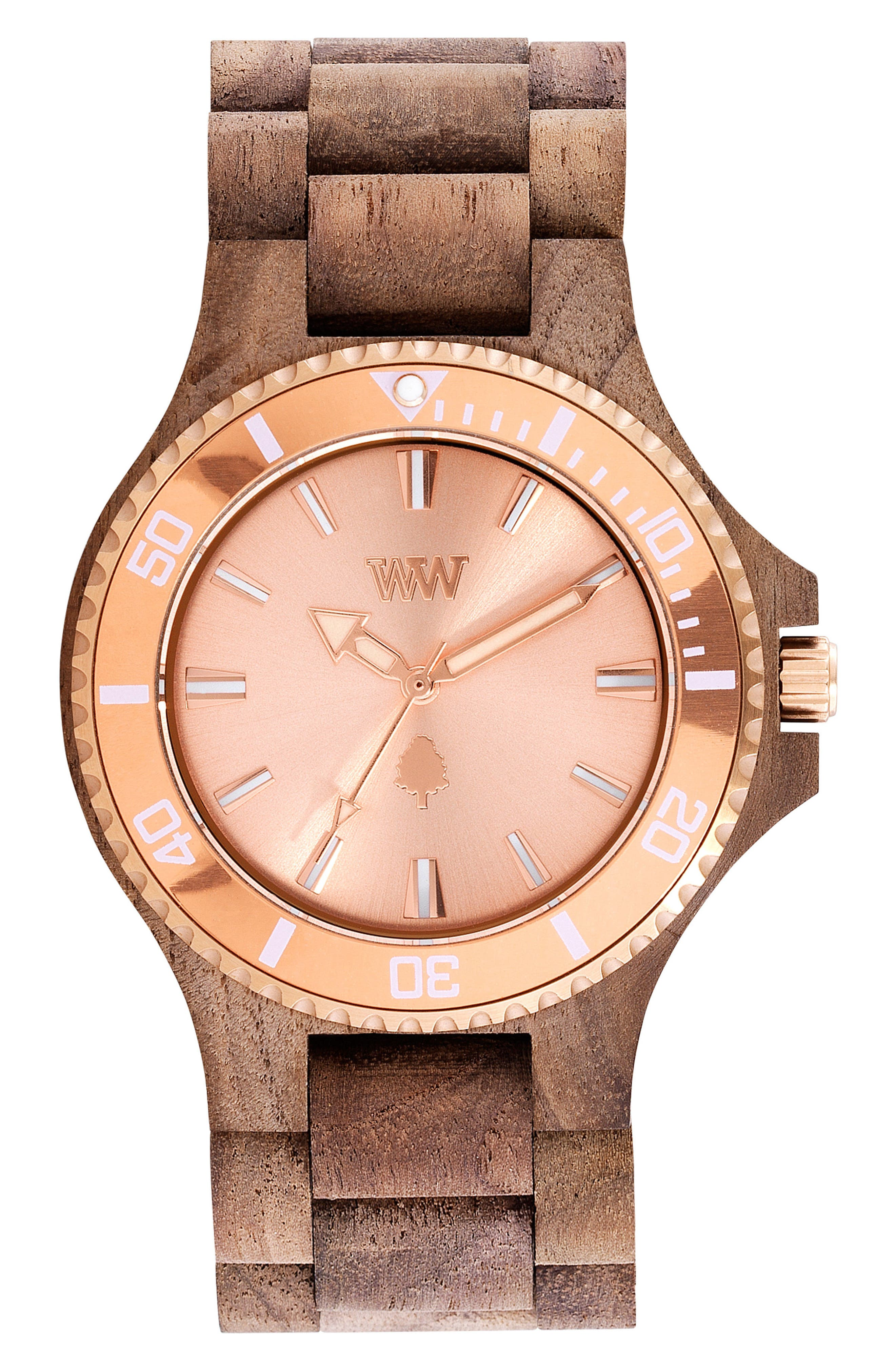 Date MB Wood Bracelet Watch, 42mm,                             Main thumbnail 1, color,                             Brown/ Rose Gold